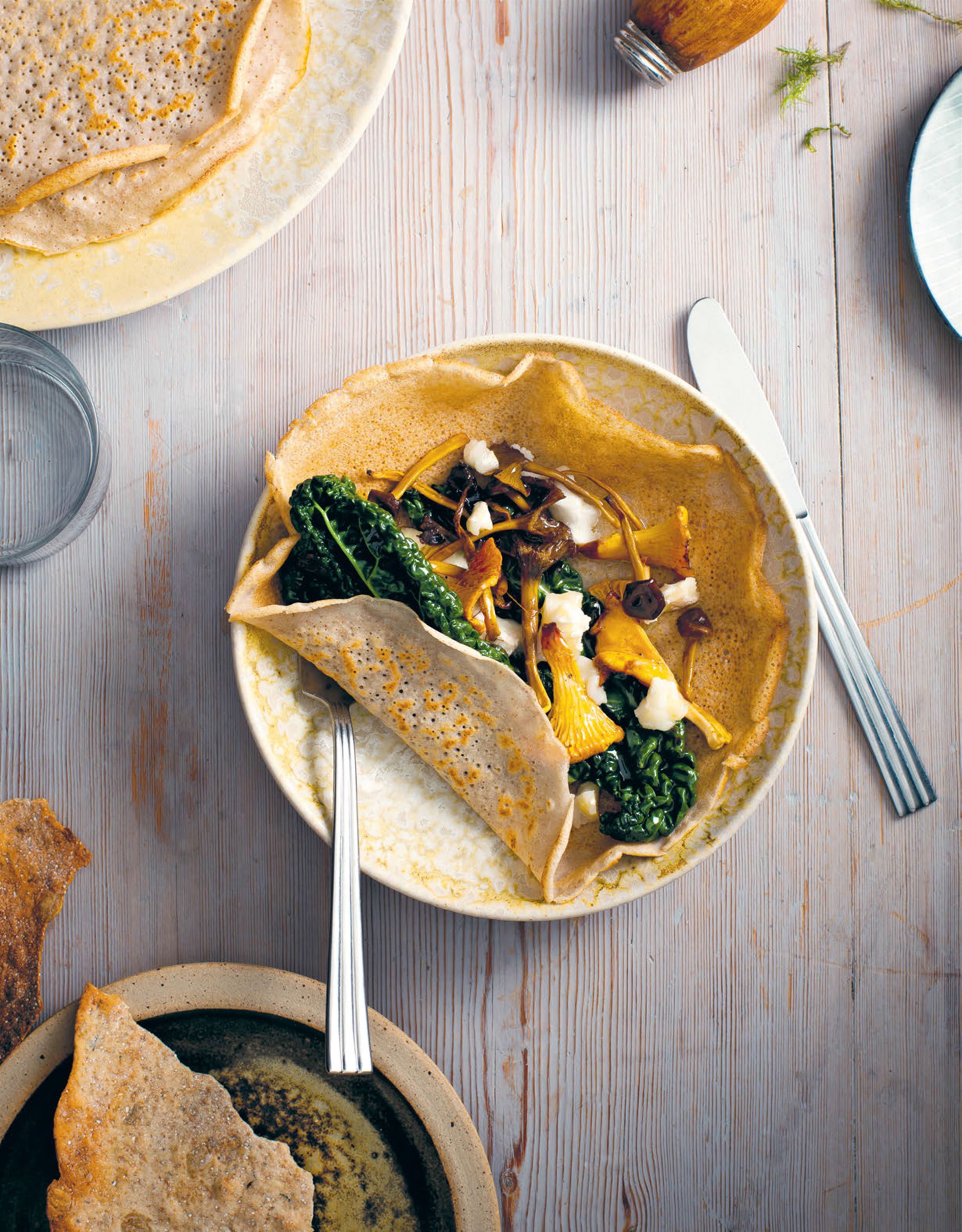 Chanterelles, buckwheat crepes & kale