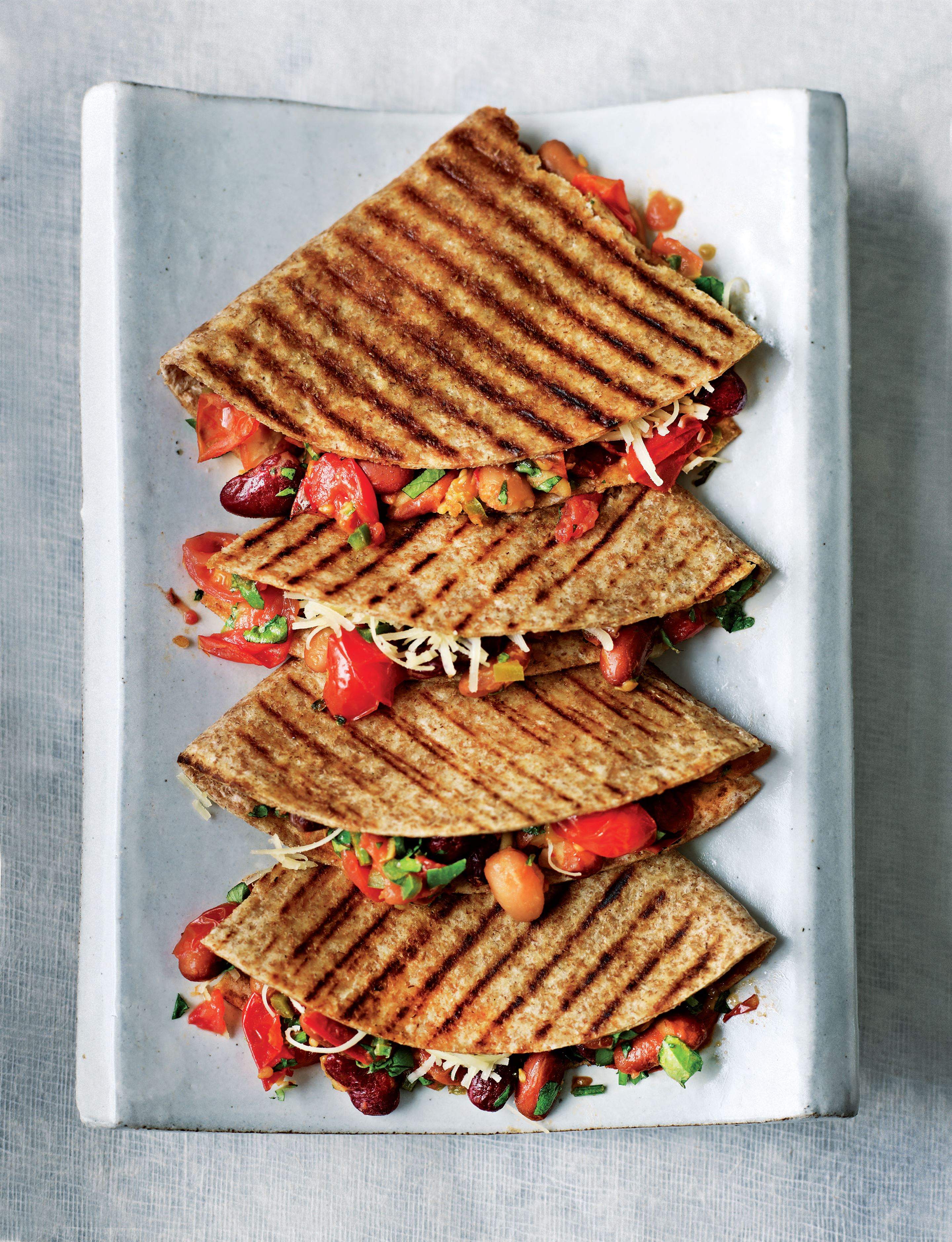 Wholemeal bean quesadillas