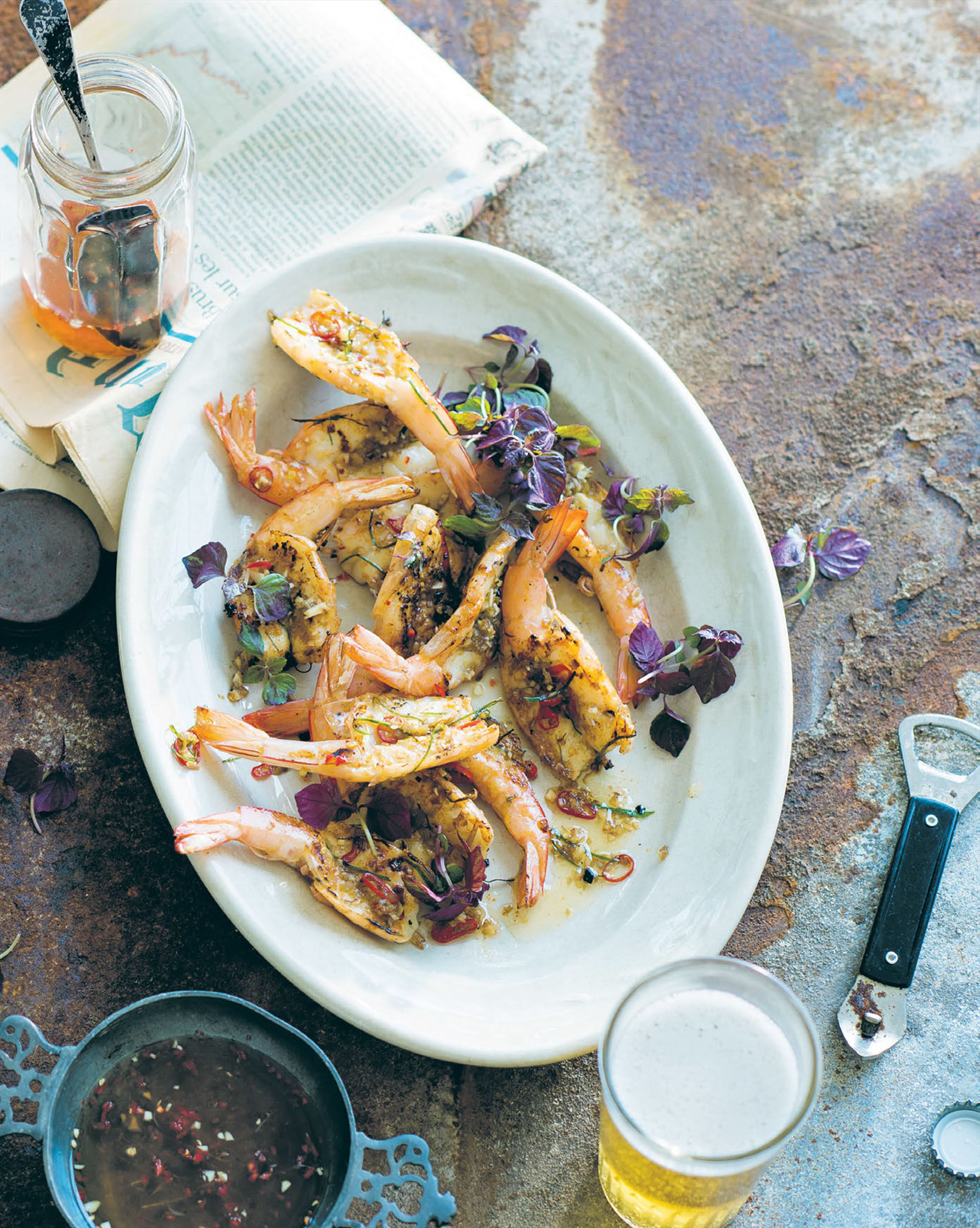 Split king prawns with lemongrass, lime & chilli