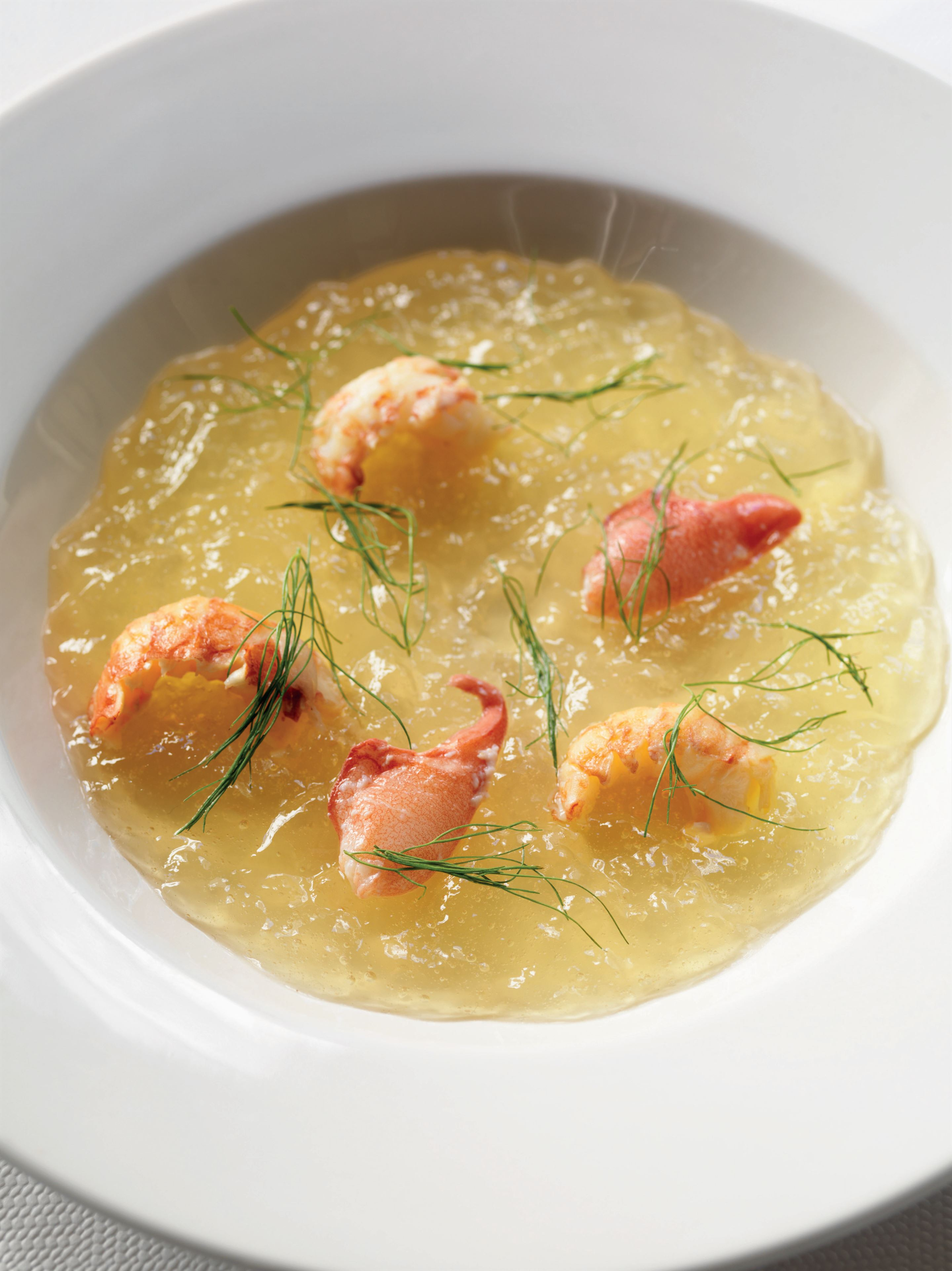 Jellied tomato soup with crayfish and wild fennel