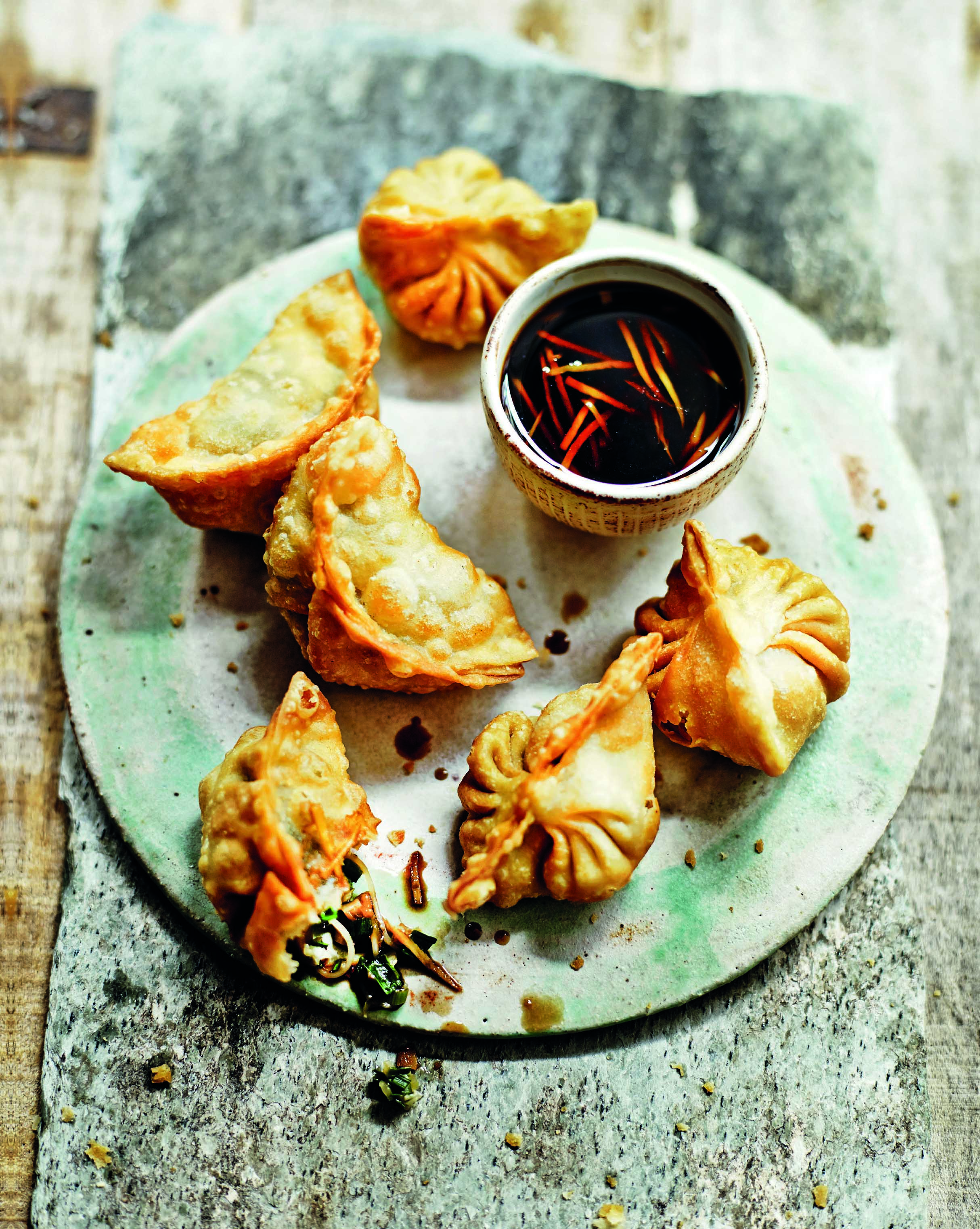 Shiitake and chive dumplings