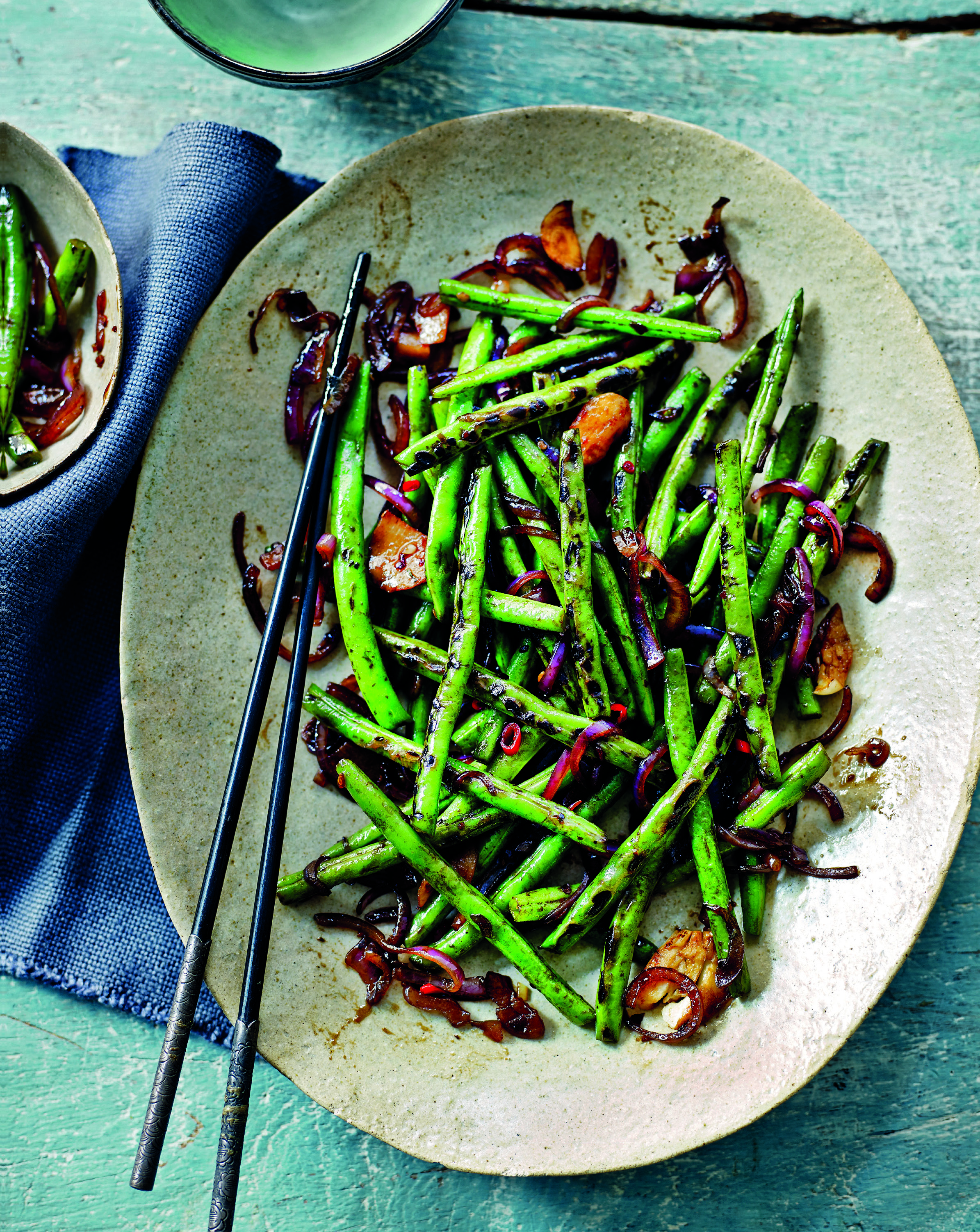 Stir-fried green beans with chilli hoisin