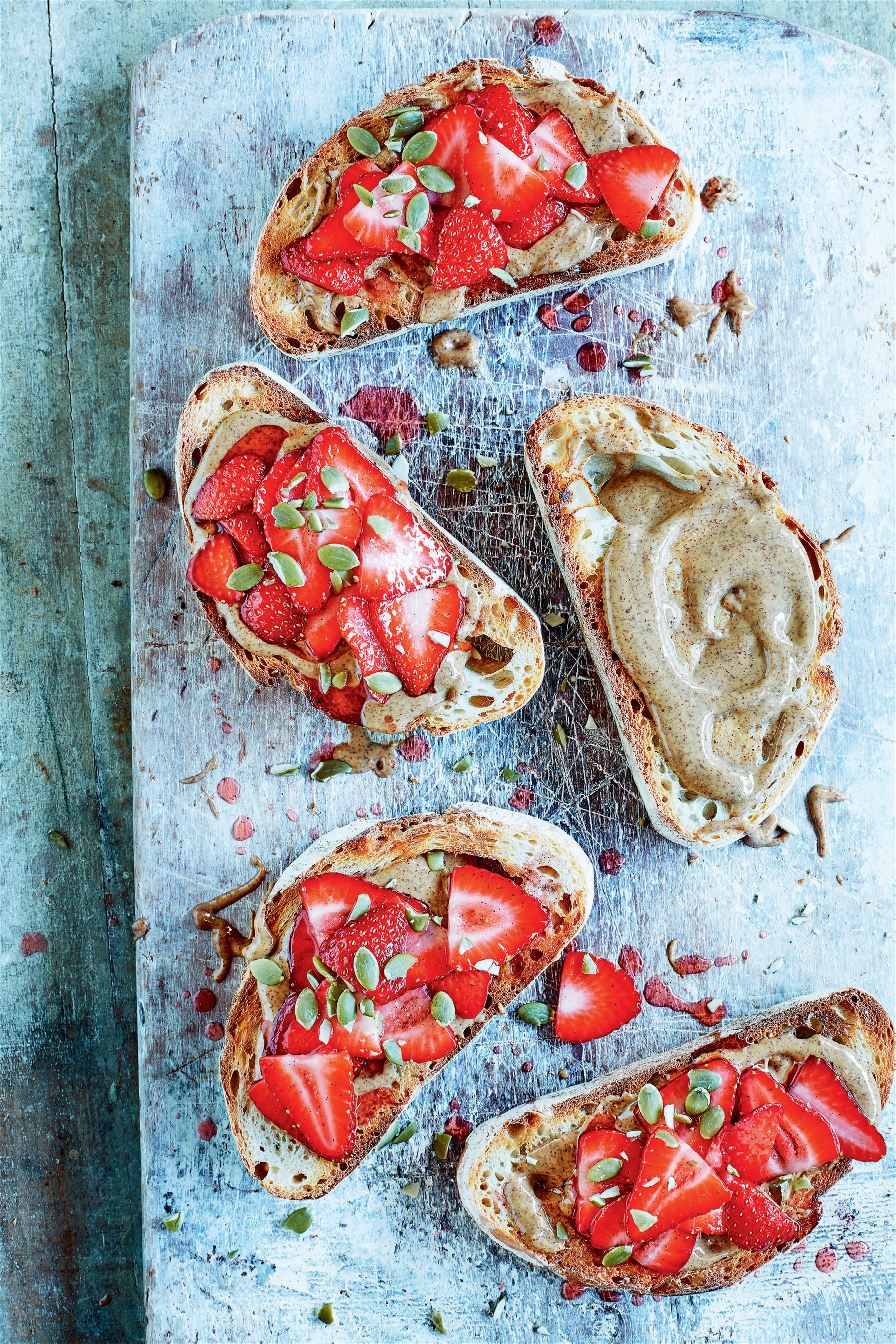 Marinated strawberries and almond butter sourdough