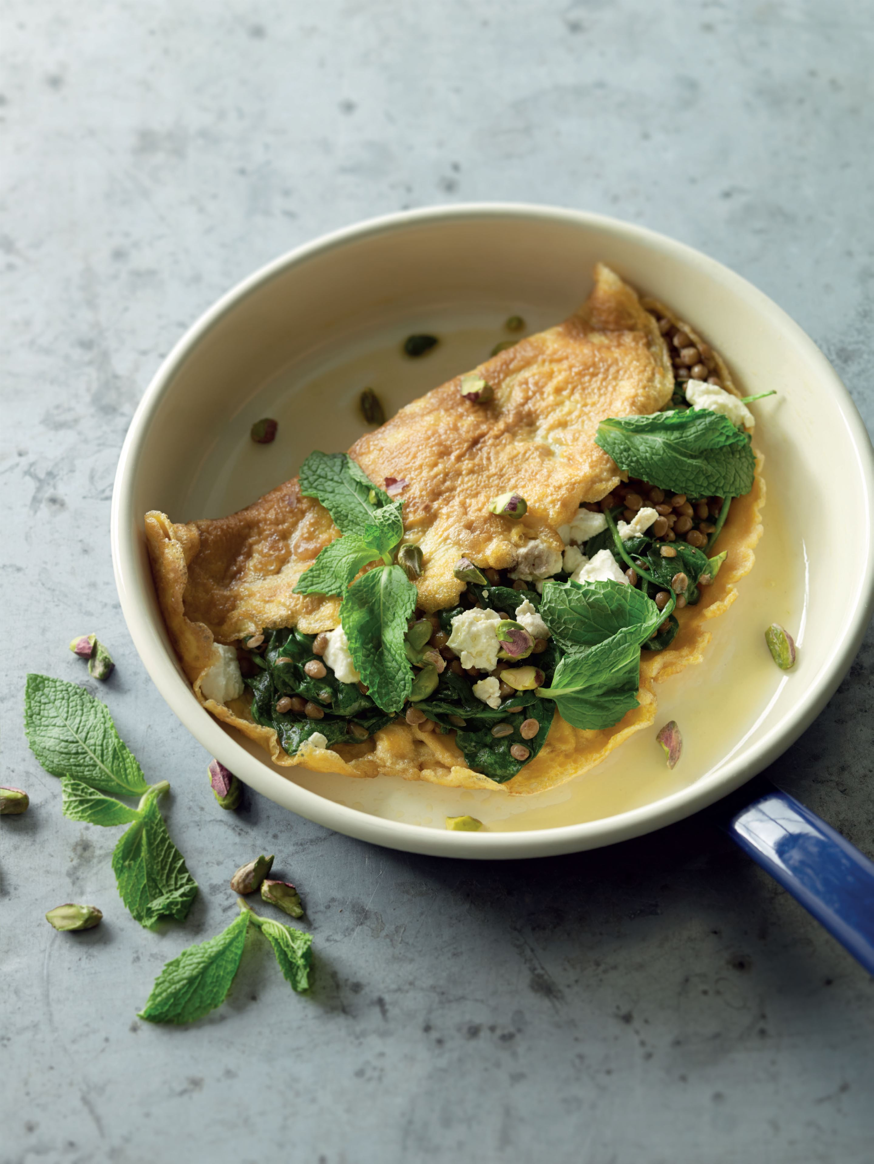 Feta, mint, lentil and pistachio omelettes
