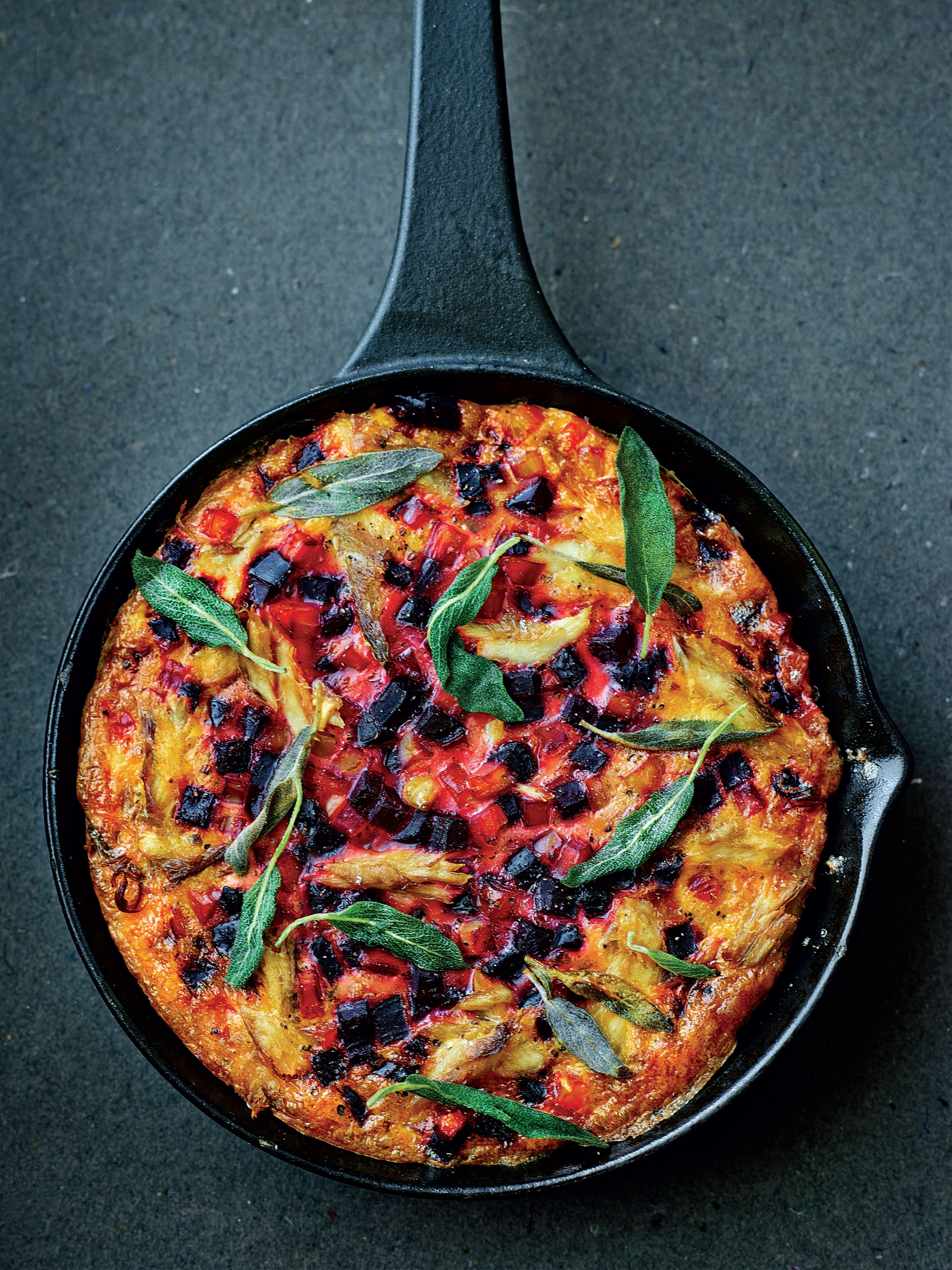 Beetroot and smoked mackerel frittata