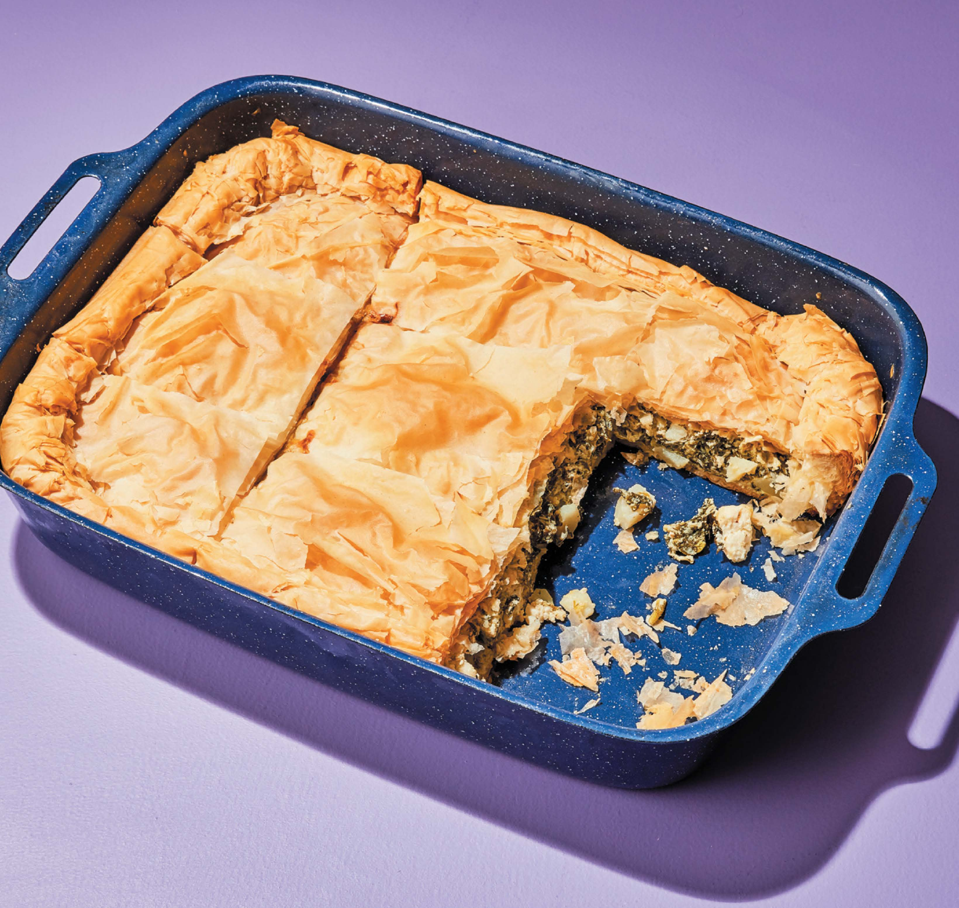 Spinach, potato and feta pie