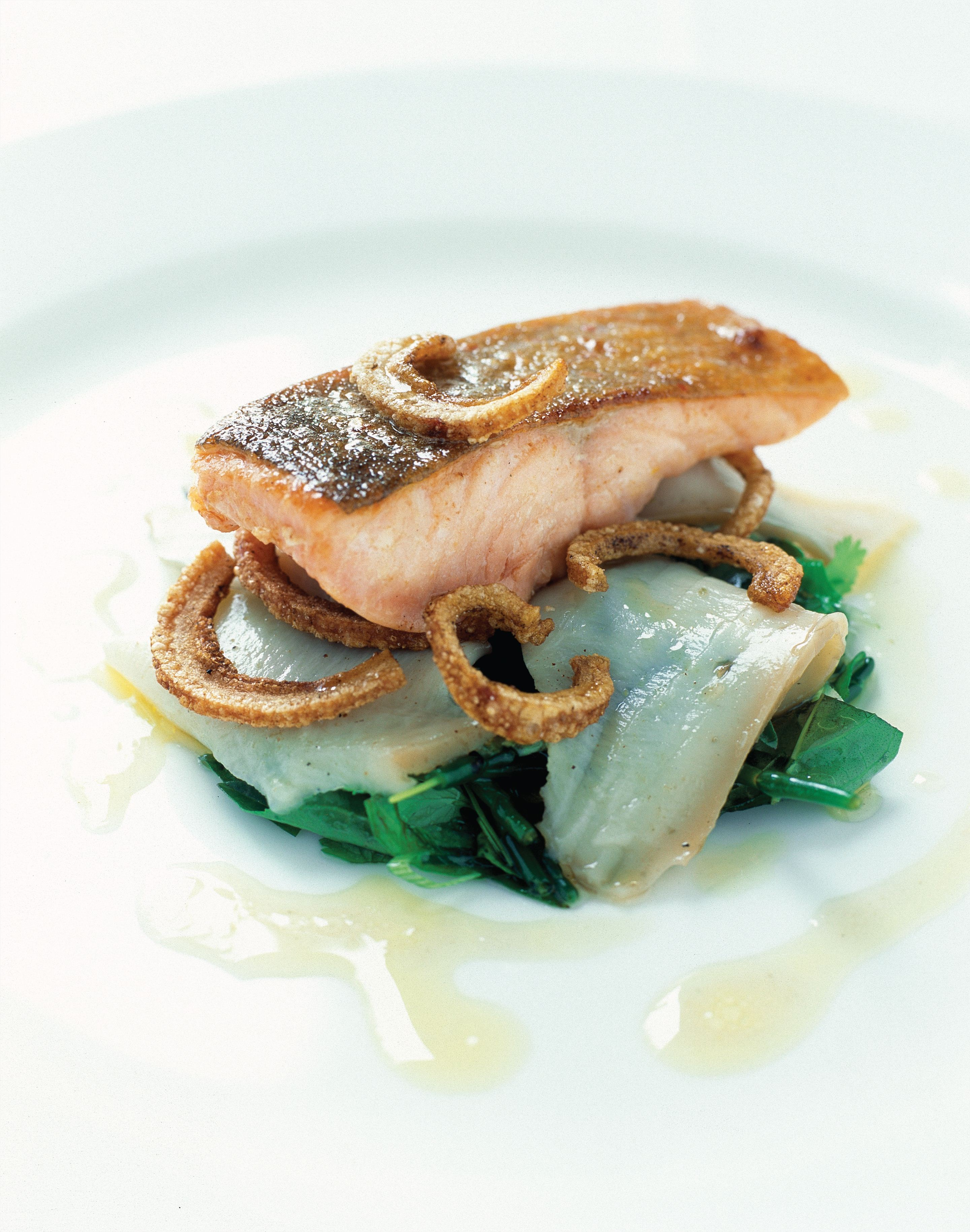 Crisp skin saltwater char with Spiced Pork Crackling, Slow-Braised Abalone and Dashi Vinaigrette