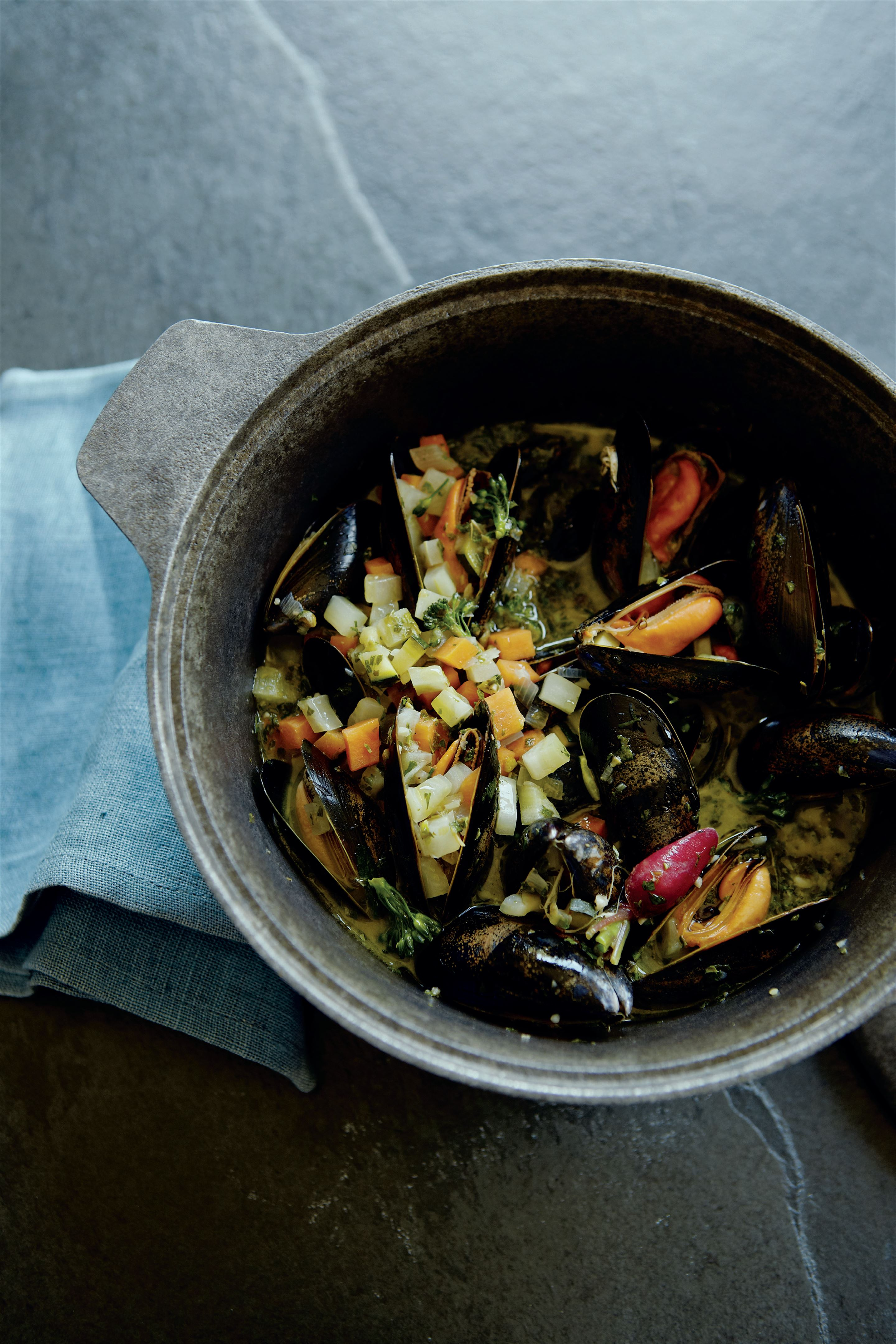 Summer veg soup with mussels and salsa verde