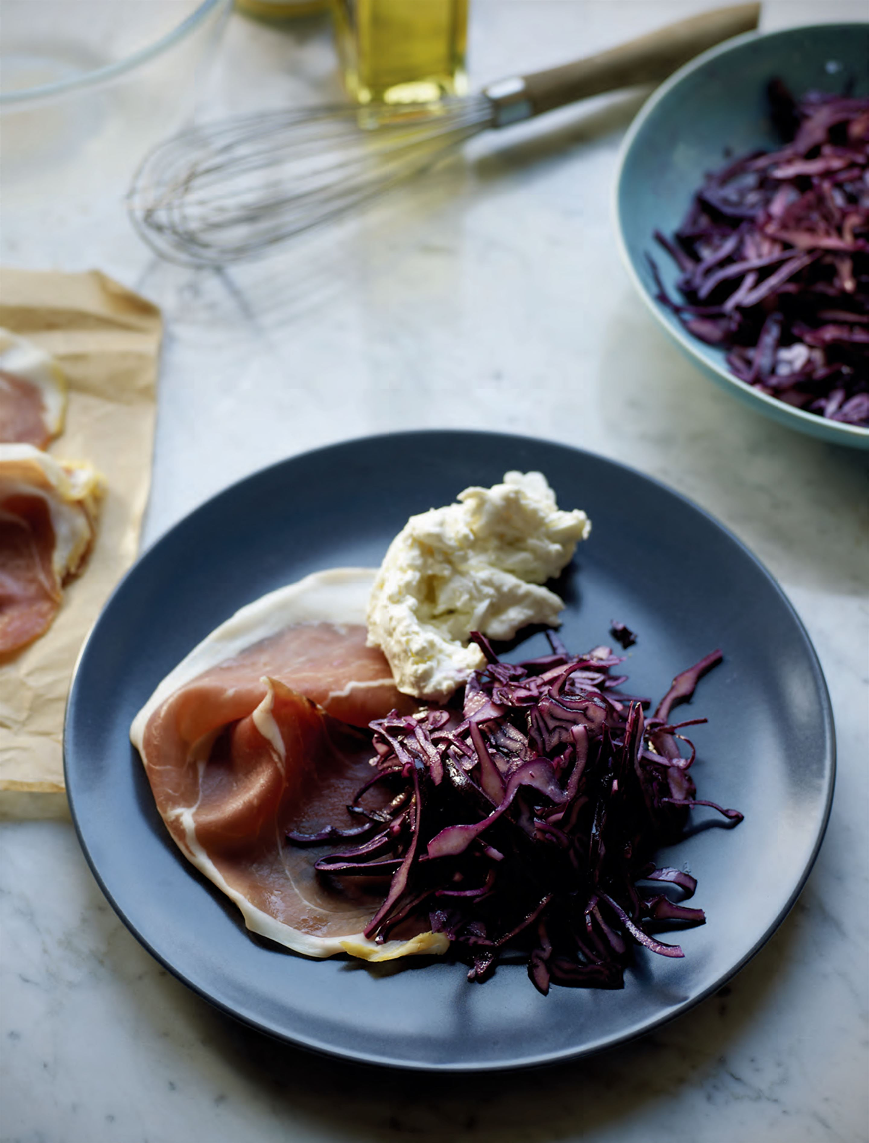 Hampshire mozzarella with red cabbage & parma ham