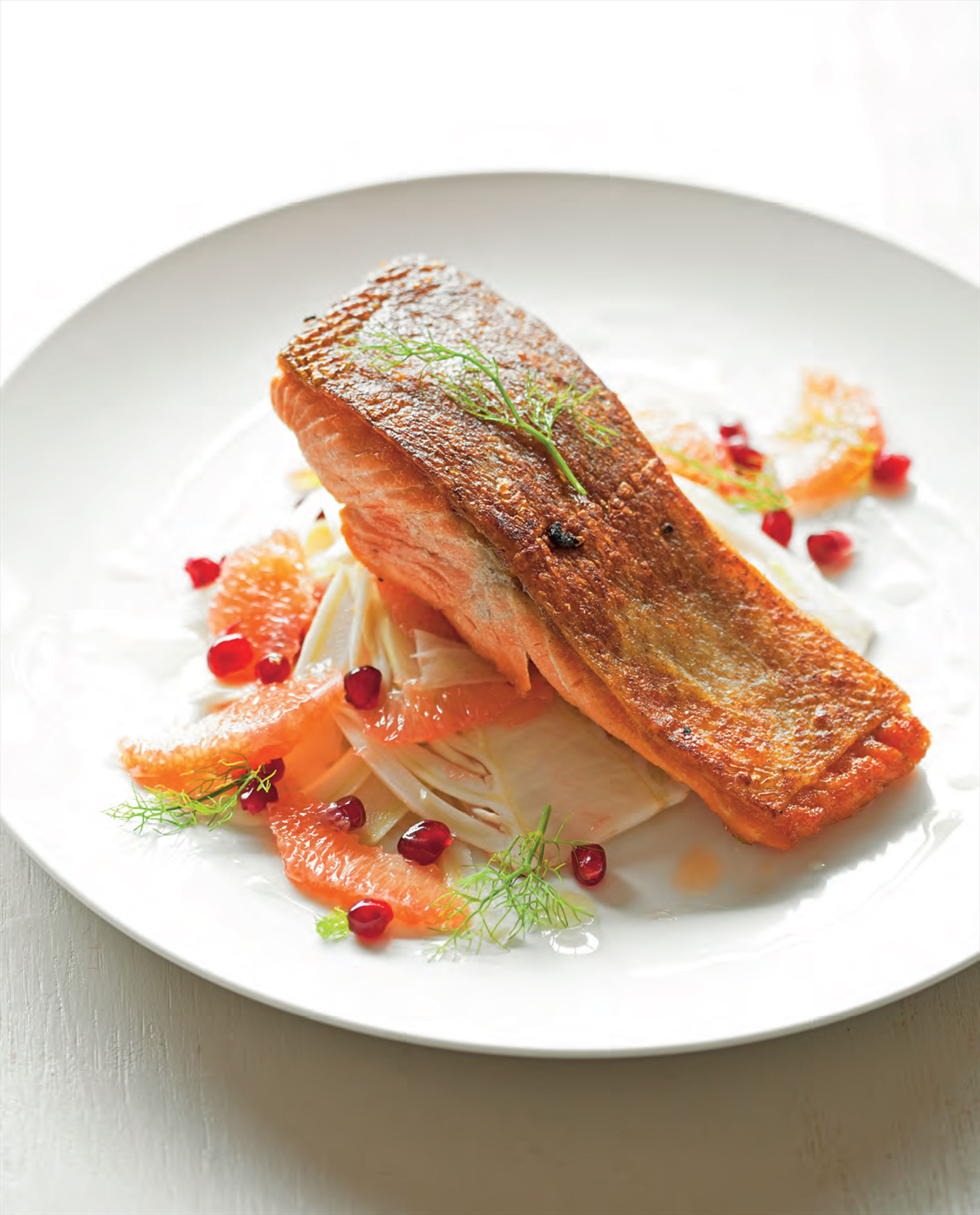 Ocean trout with fennel, grapefruit and pomegranate salad