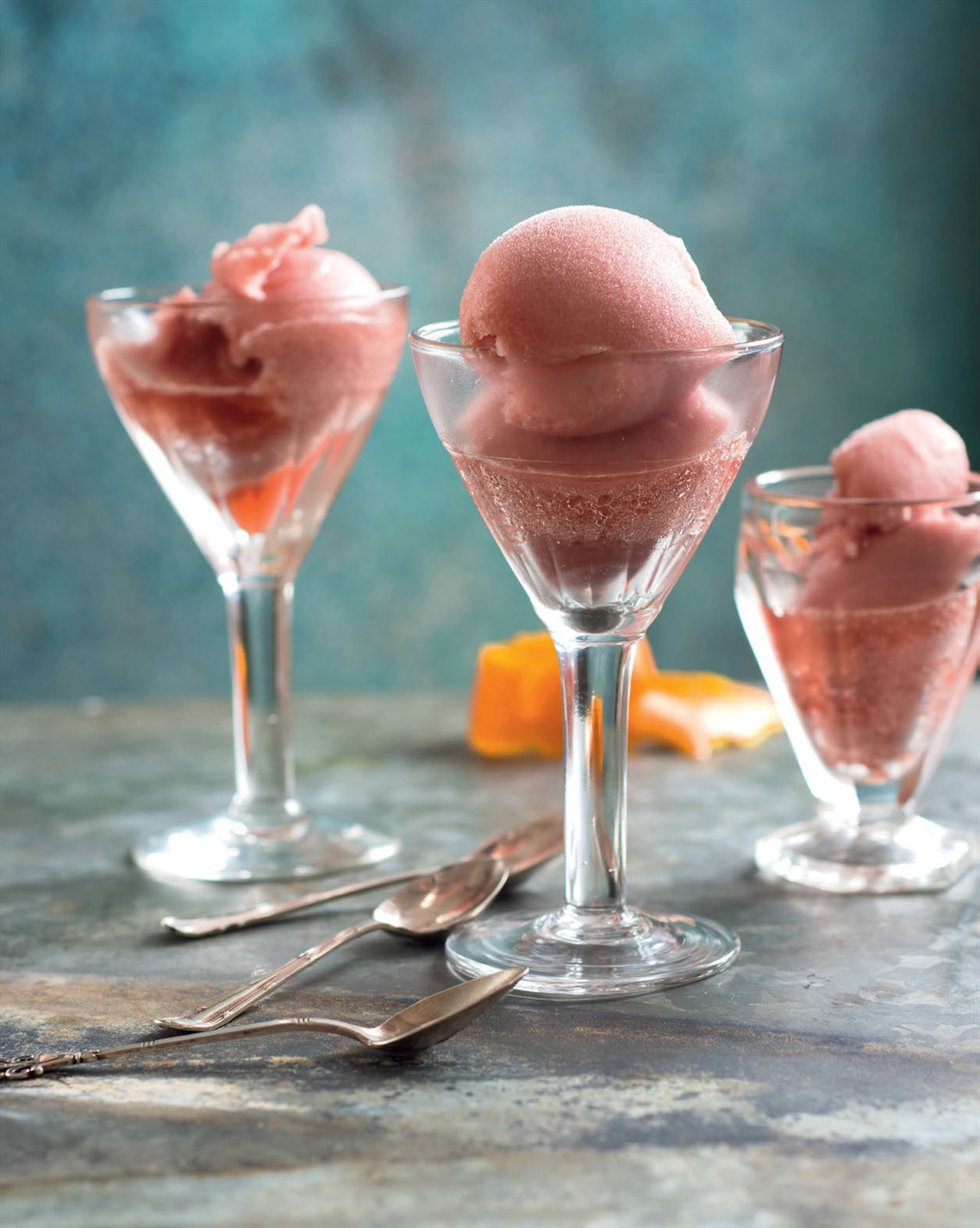 Negroni sorbet with blood orange & pomegranate