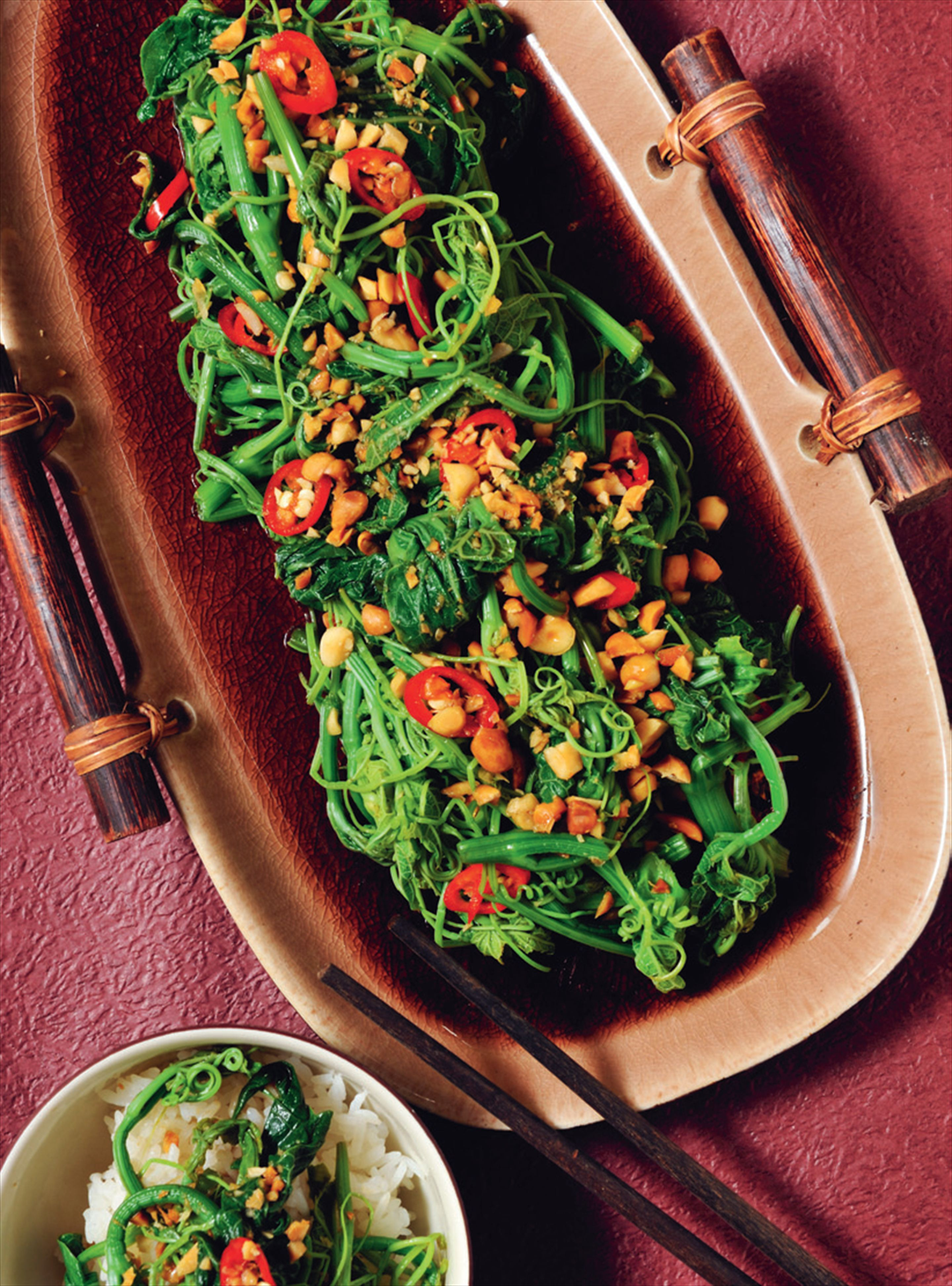 Choko tendril salad with chilli, soy and peanuts