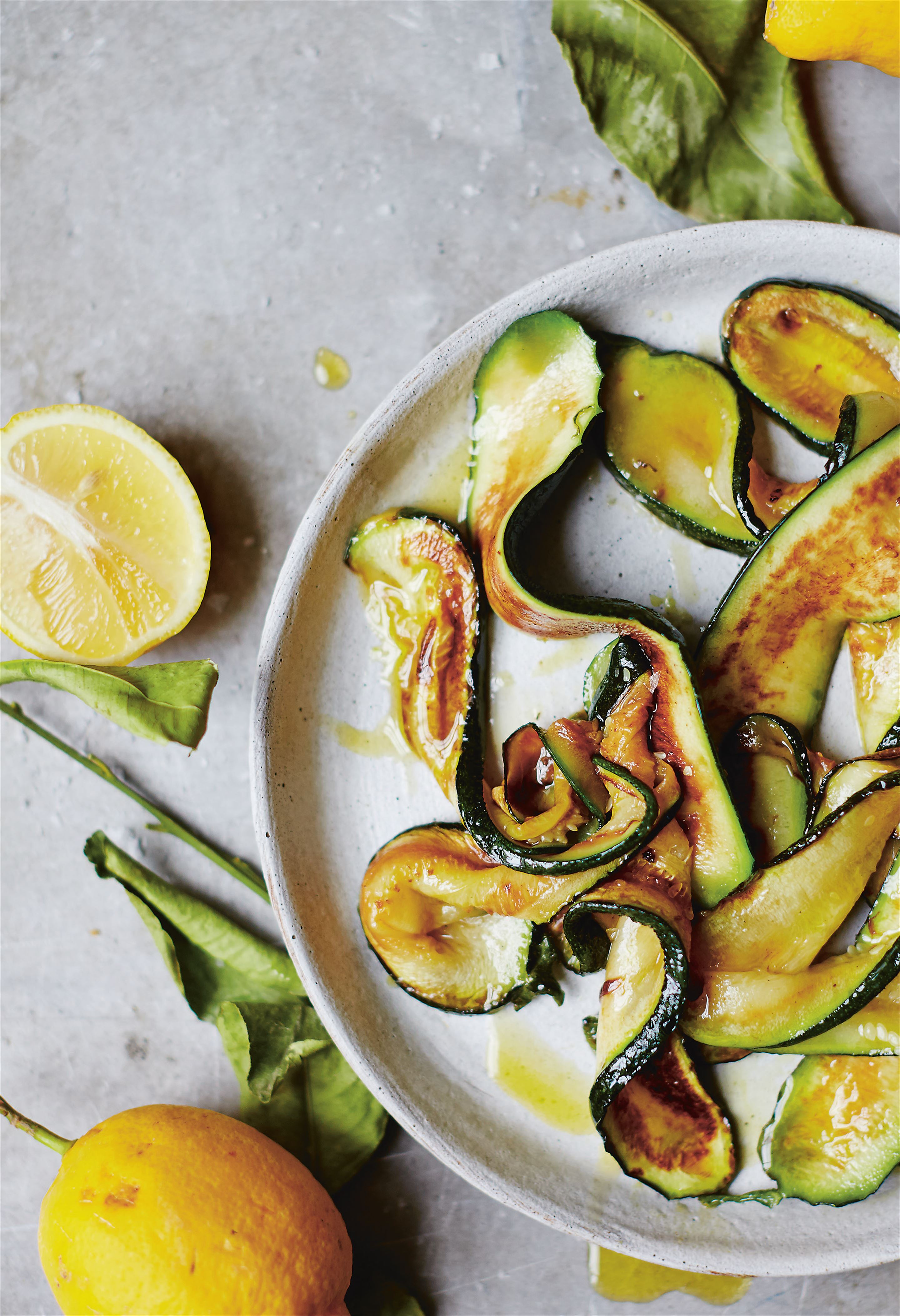 Courgettes with lemon and sea salt