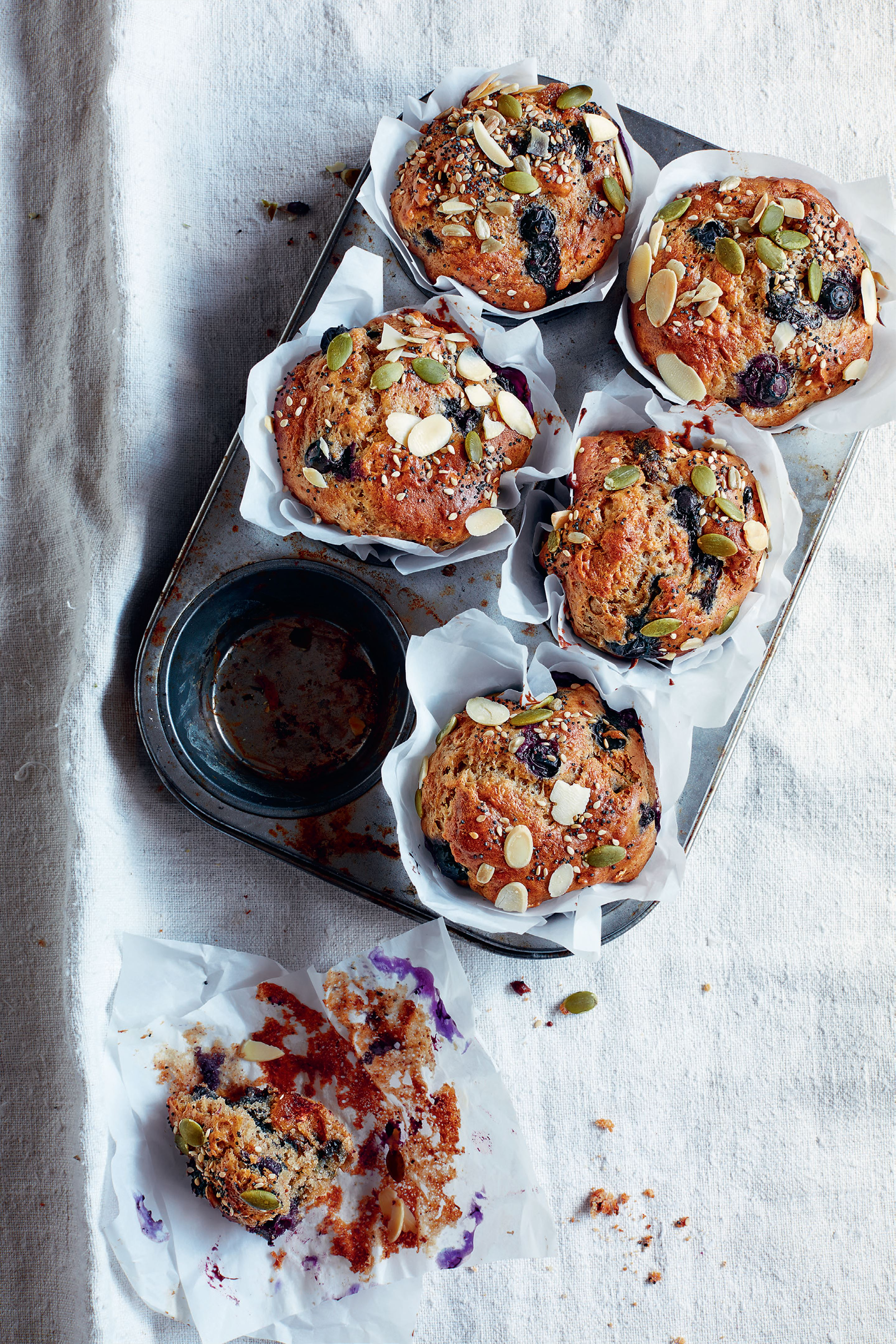 Blueberry and almond breakfast muffins