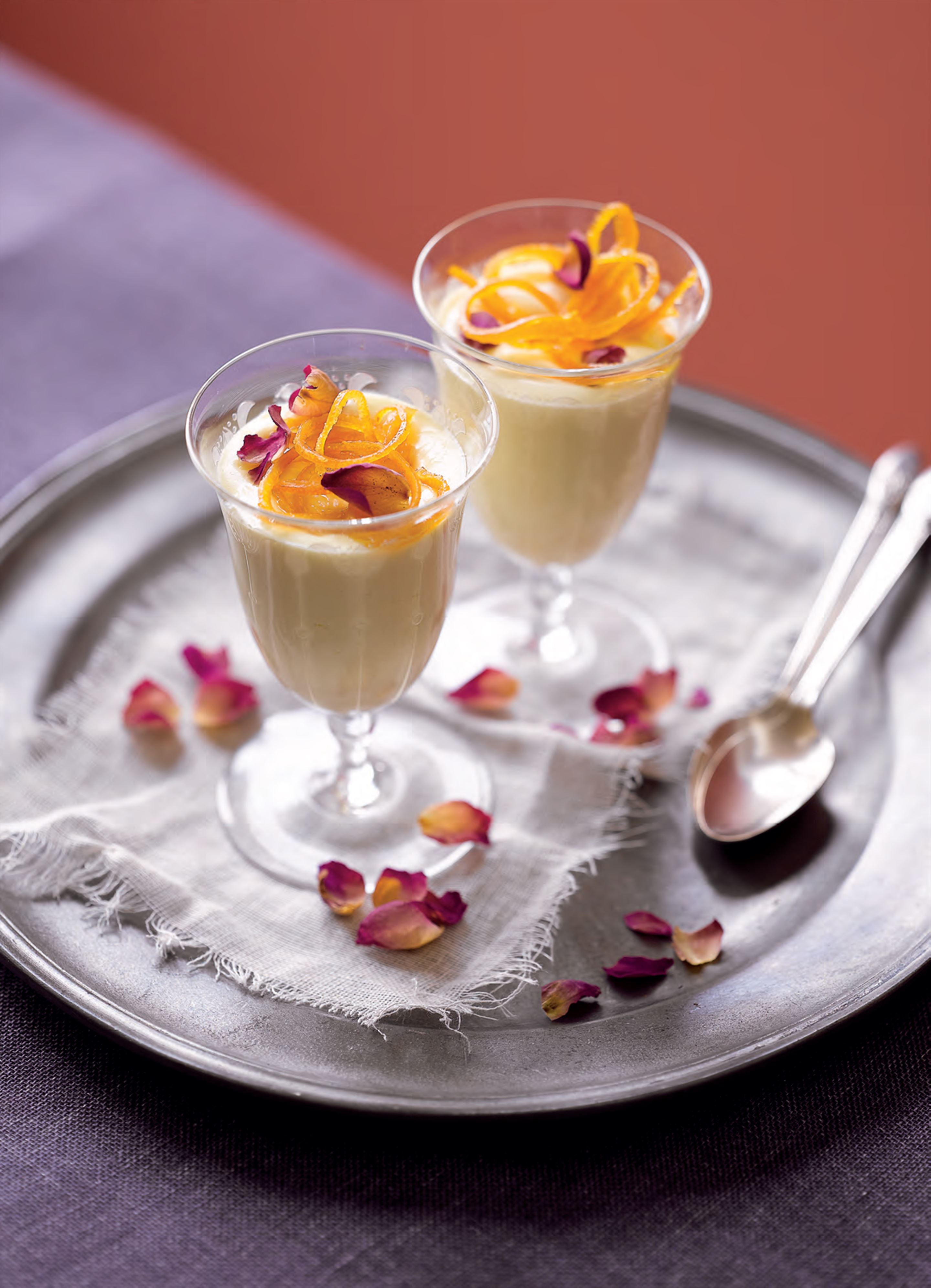 Rosewater–vanilla creams with candied orange peel