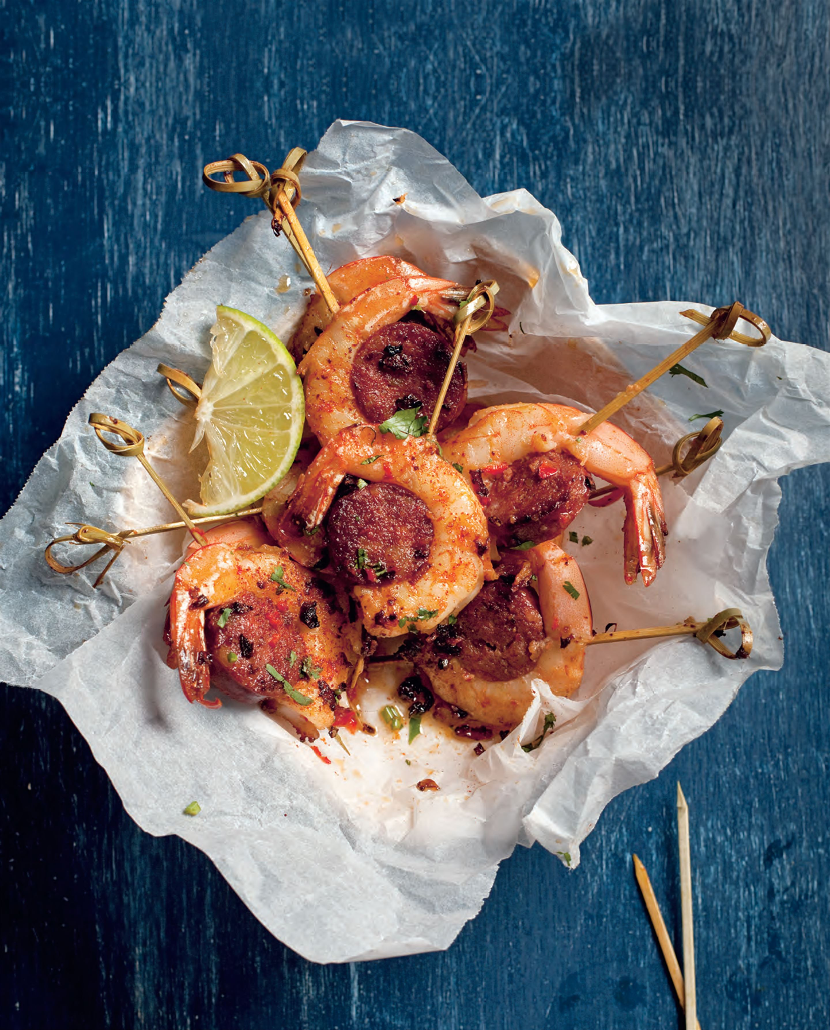 Chorizo and prawn skewers