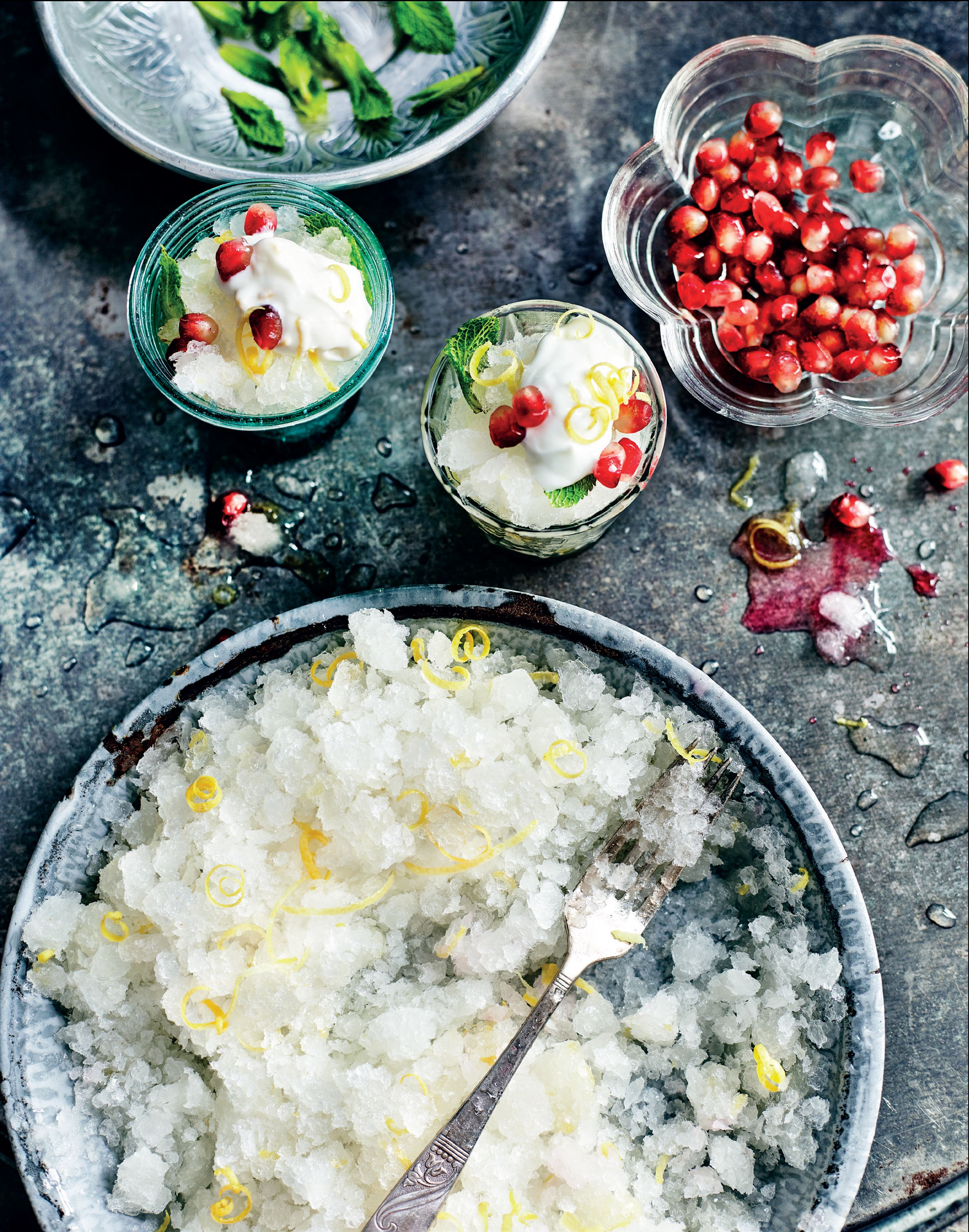 Shikanji granita with lemon creme fraiche