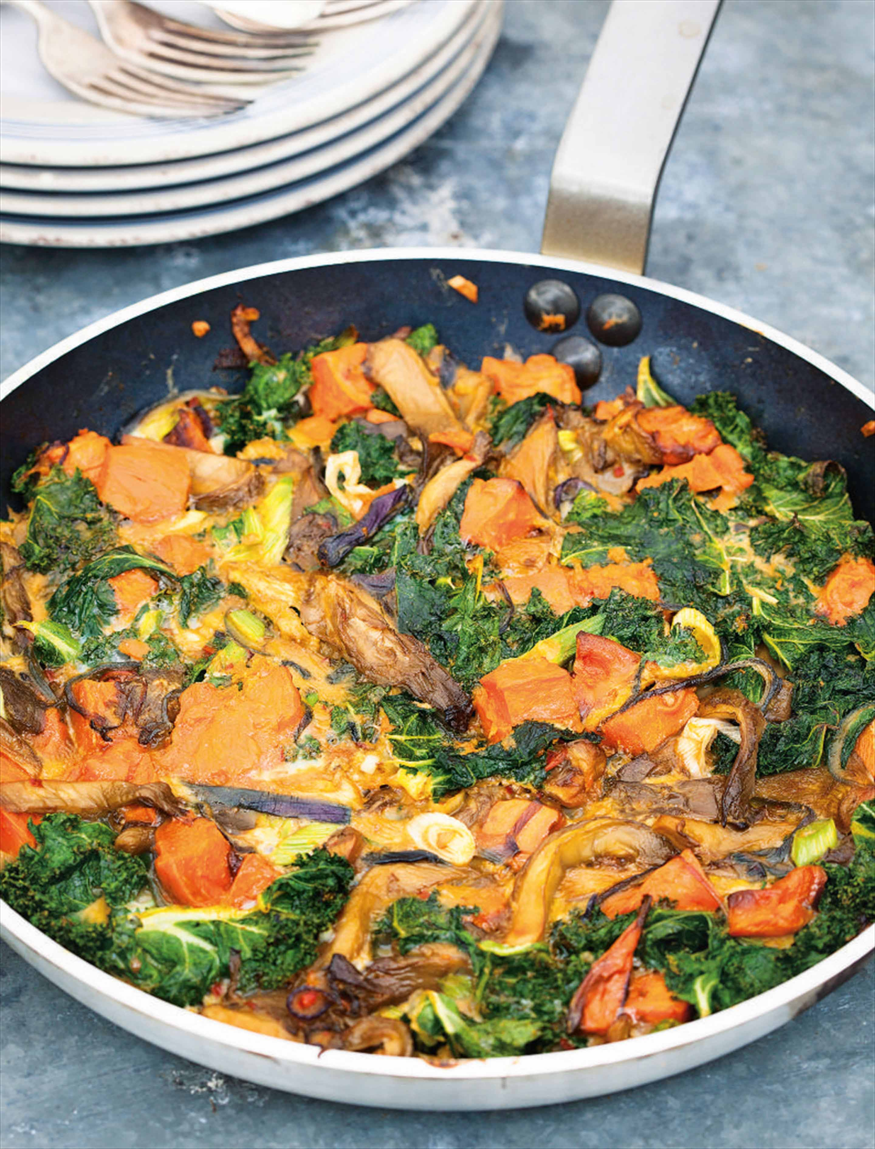 Kale, mushroom and sweet potato frittata
