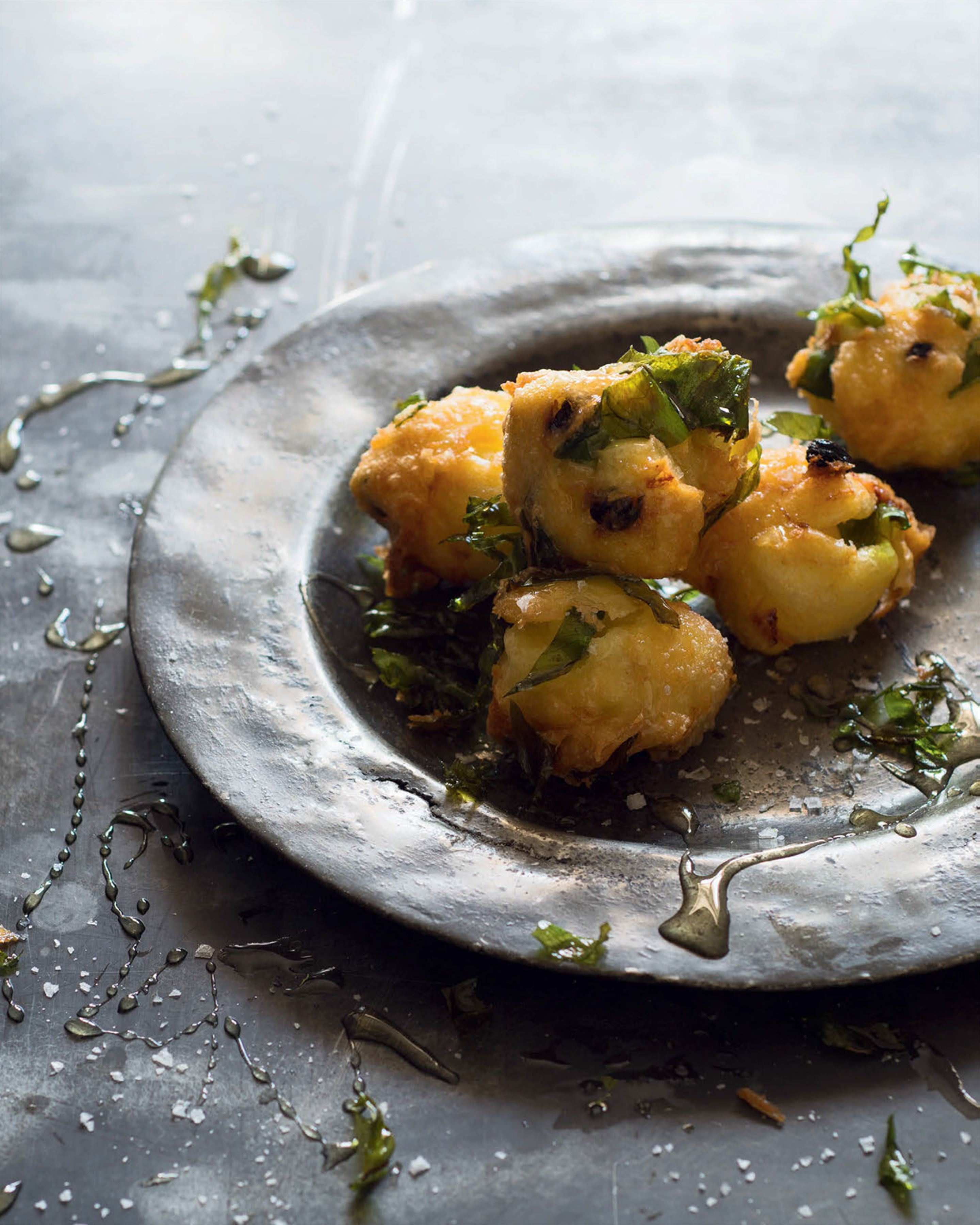Wild garlic, leek & currant fritters with honey