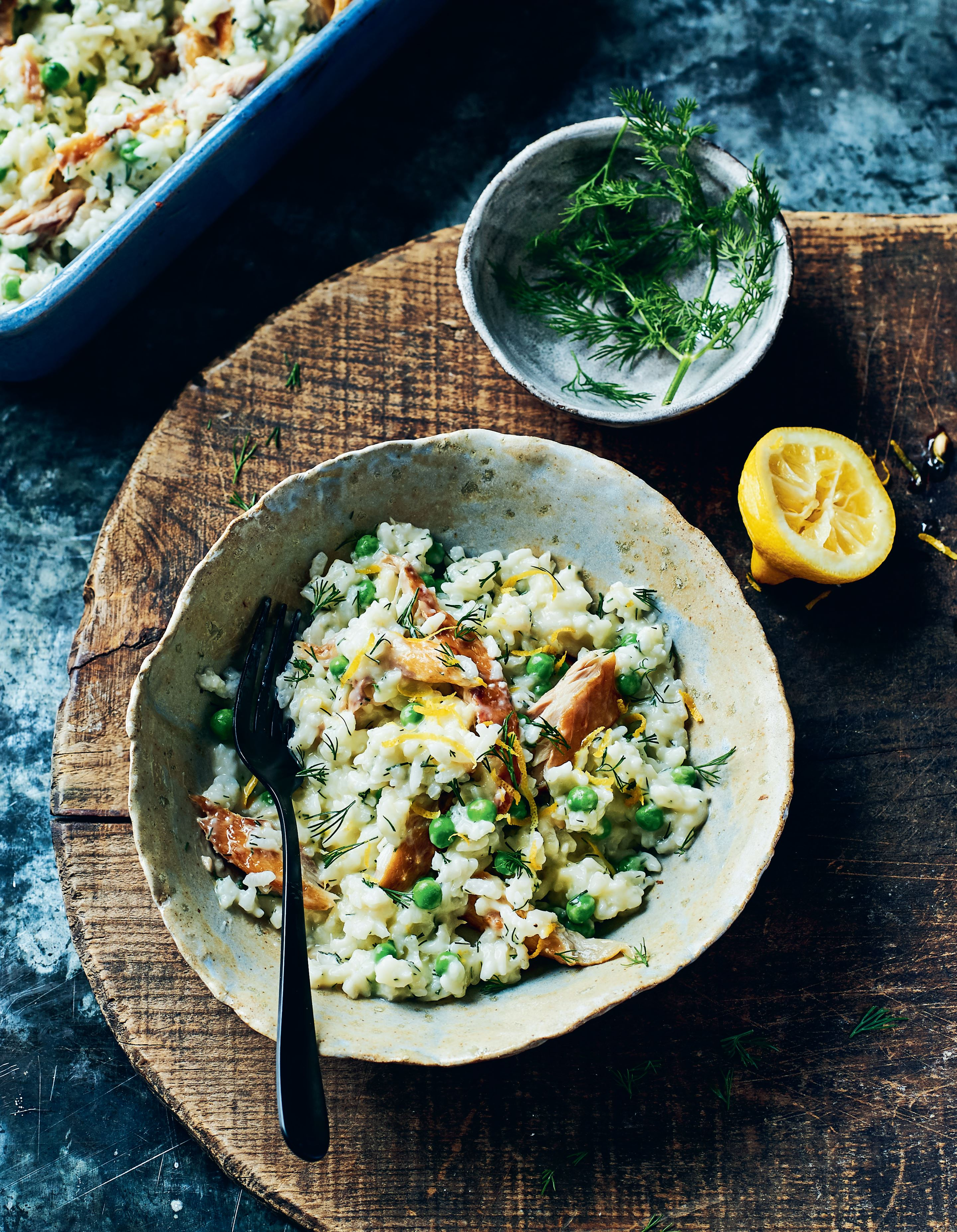 Risotto with smoked mackerel, peas and lemon