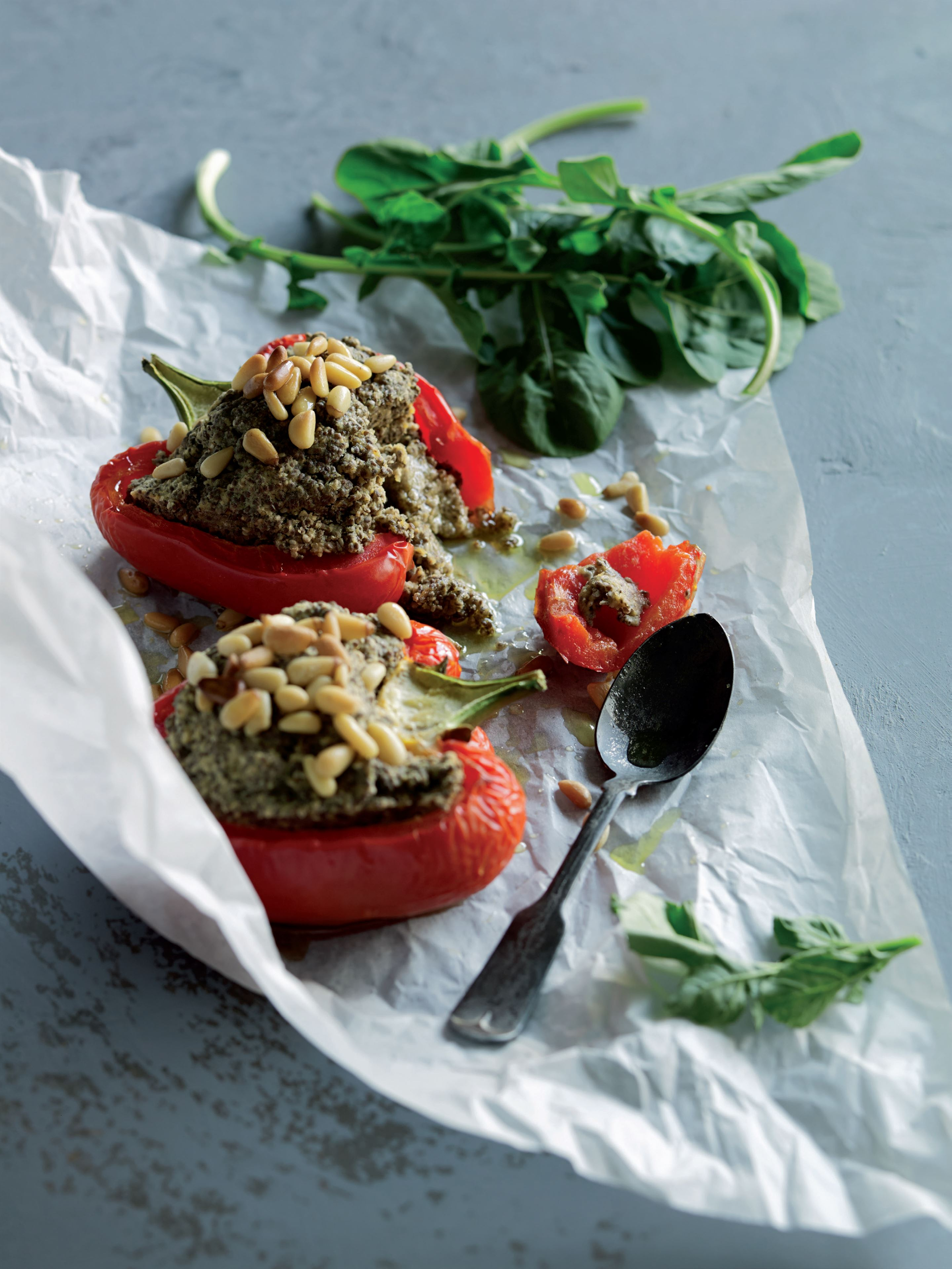 Peppers stuffed with chia, hummus and pine nuts
