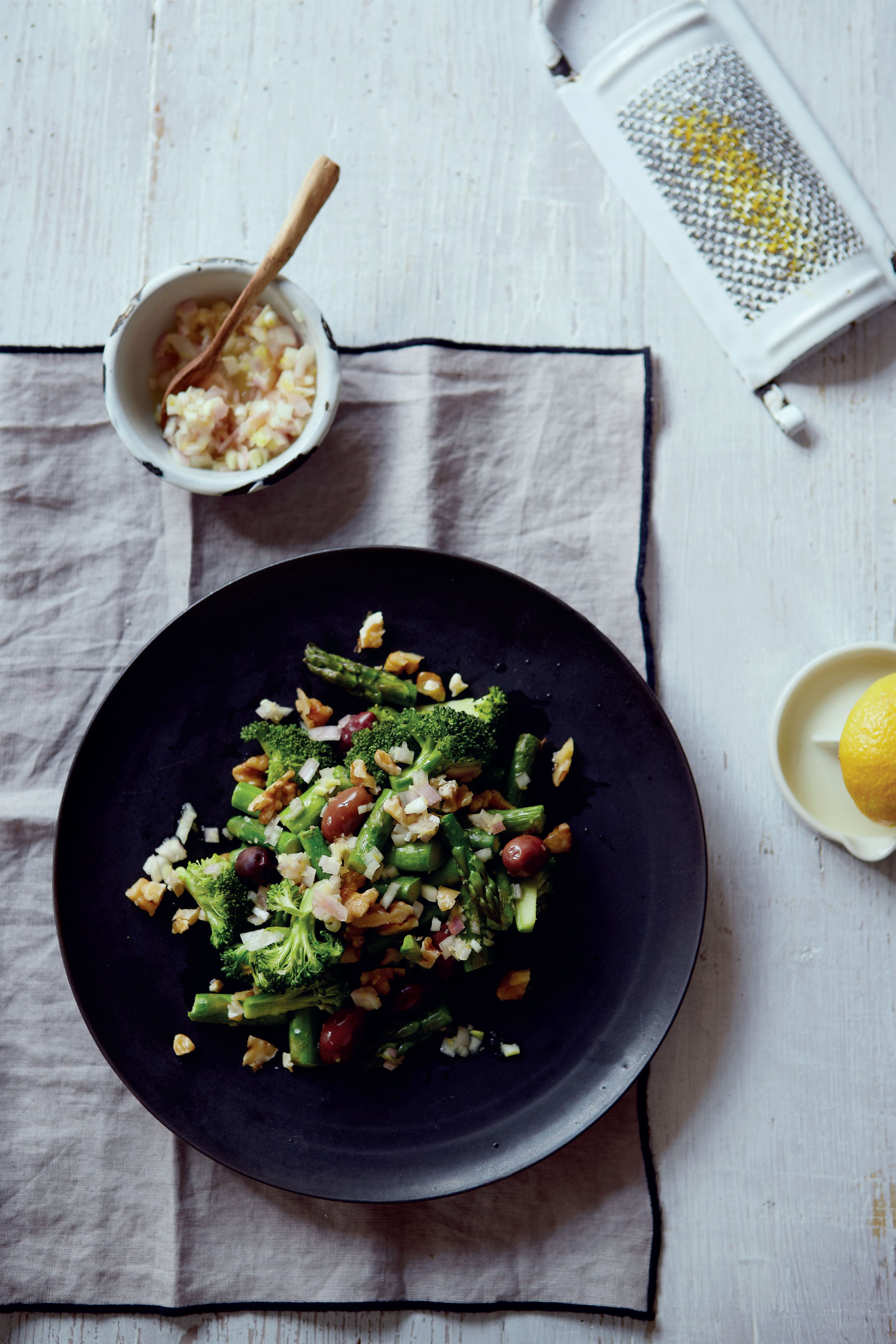 Asparagus, broccoli and coriander salad with walnuts