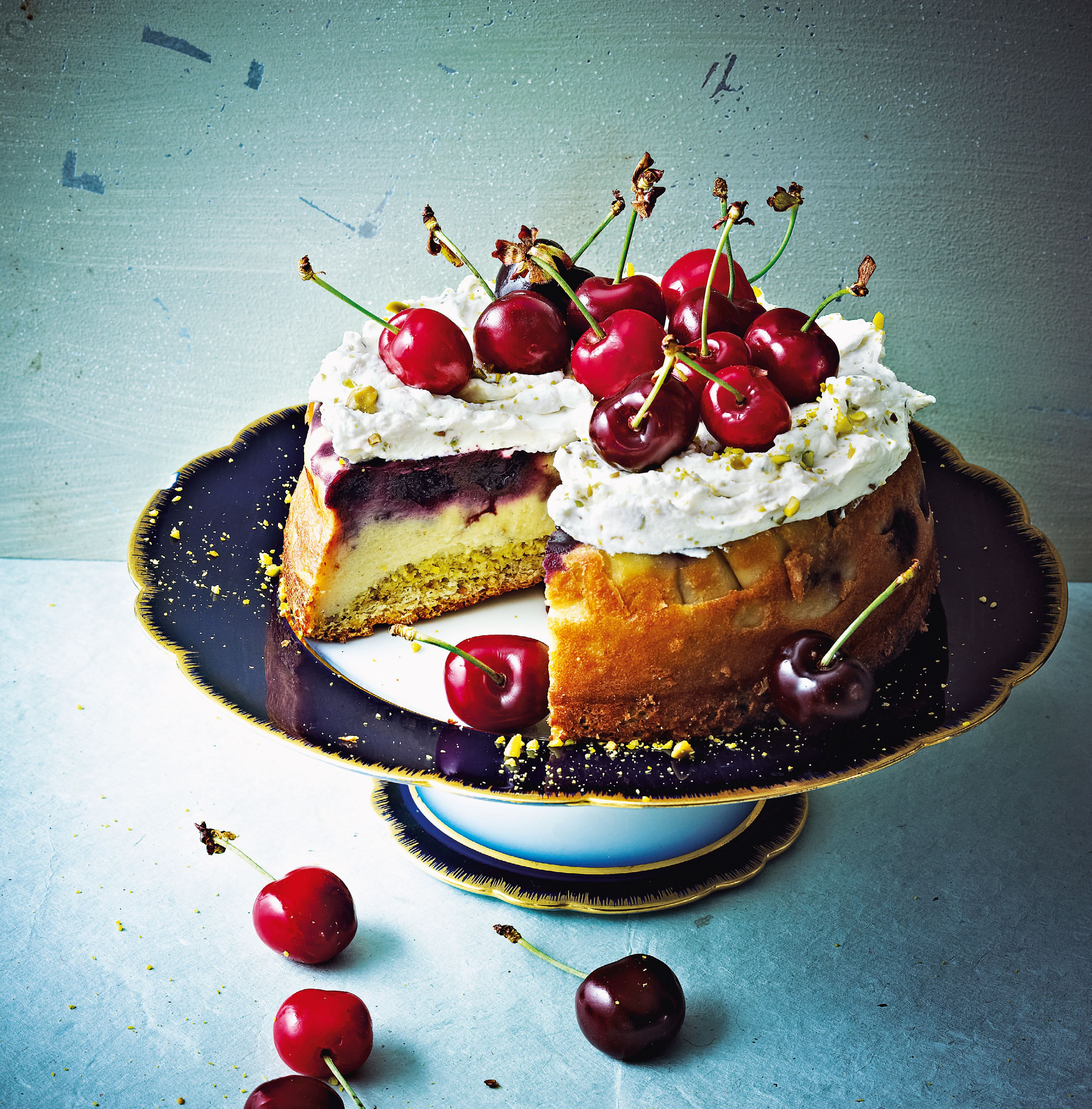 Pistachio and morello cherry cake
