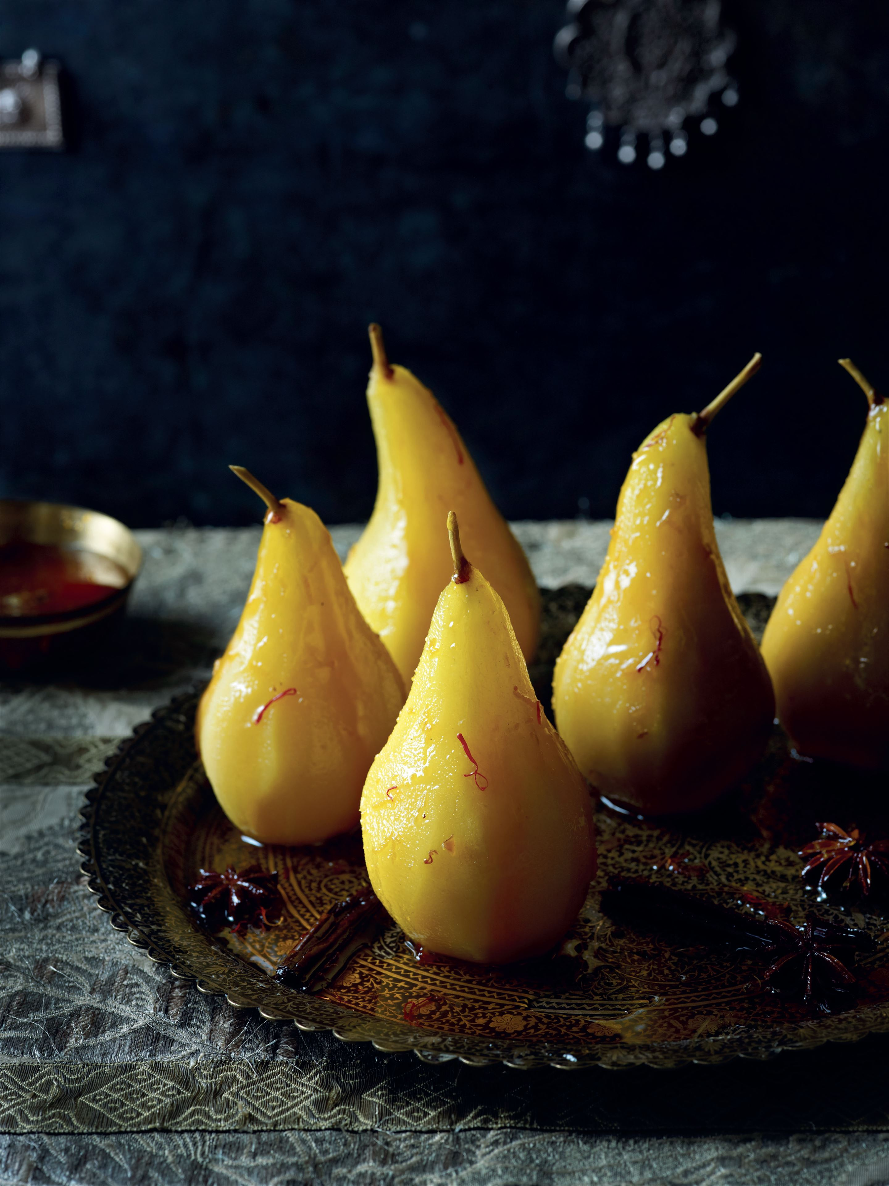Poached pears with saffron, cinnamon and star anise