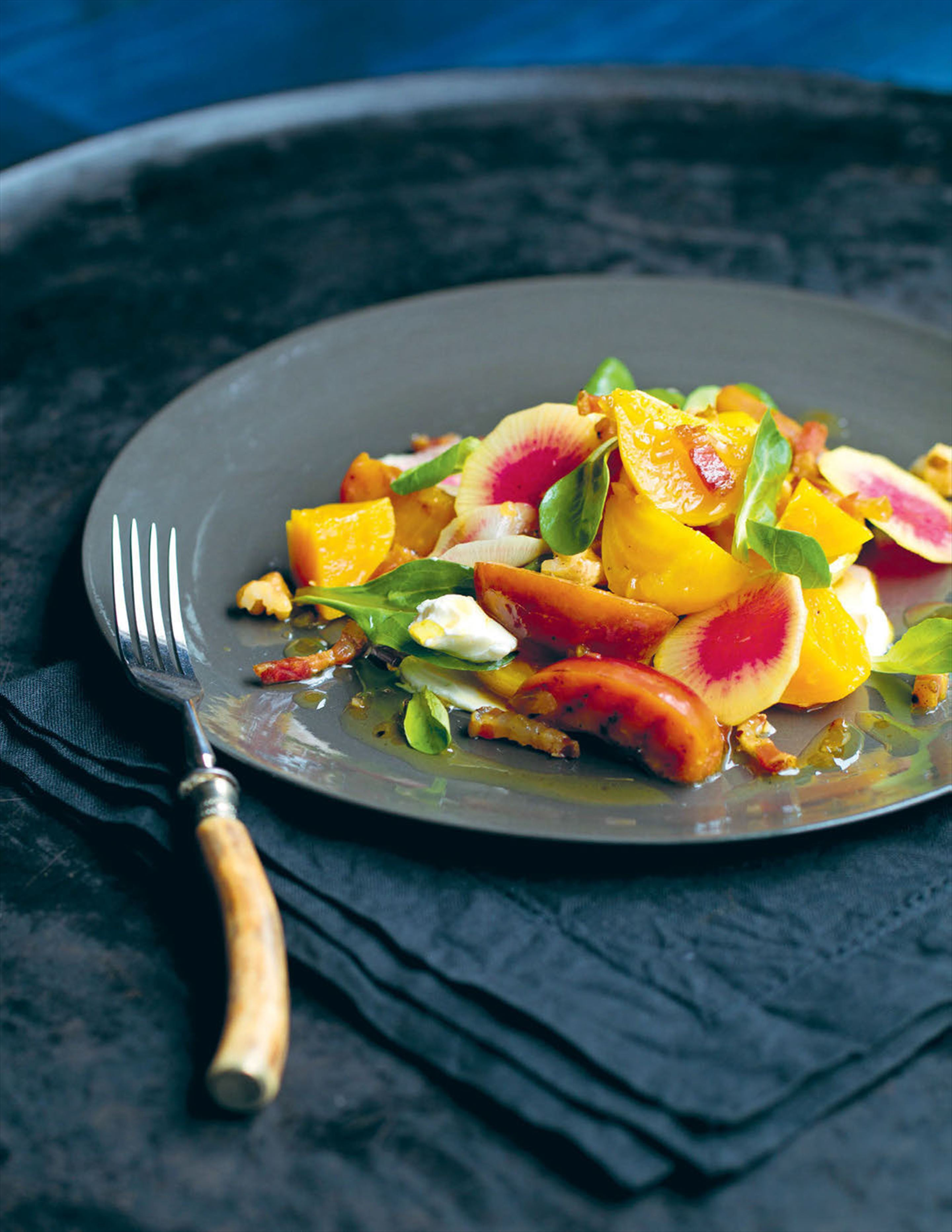 Salad of golden beetroot, pickled plum, pancetta and maple syrup
