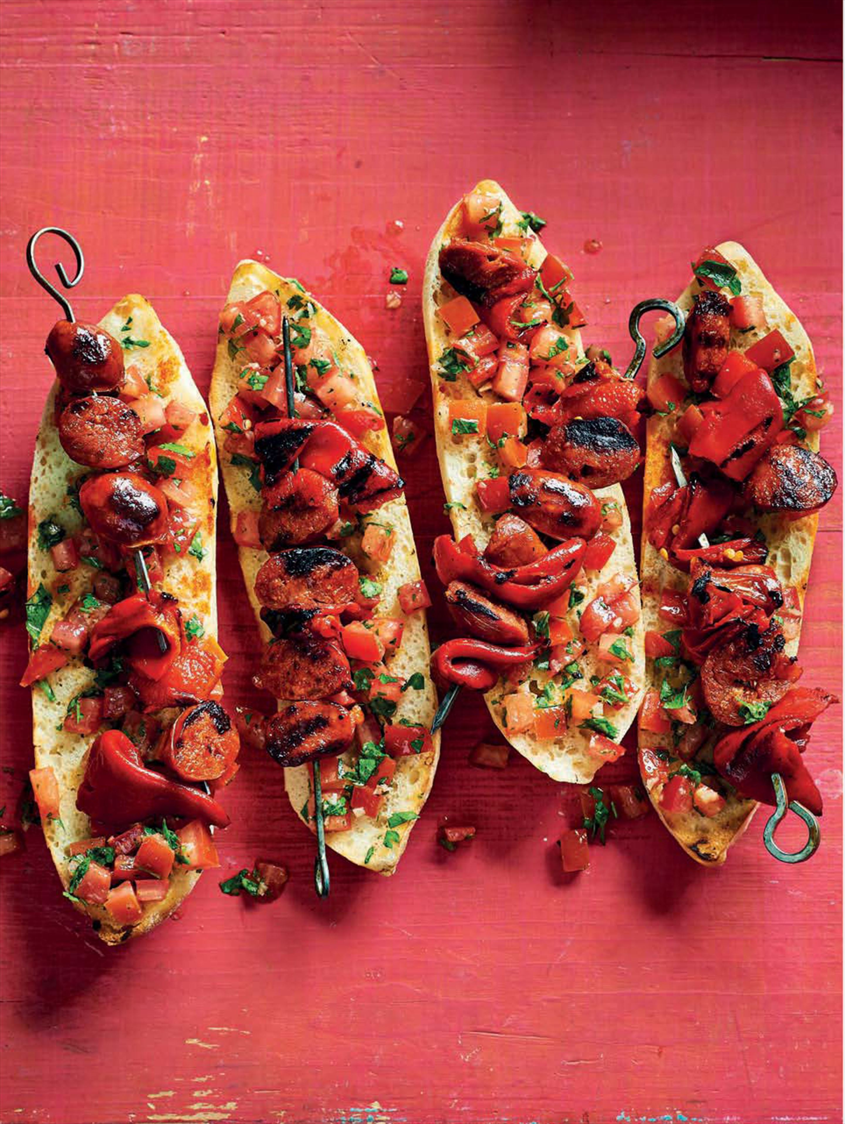 Piquillo pepper & chorizo skewers
