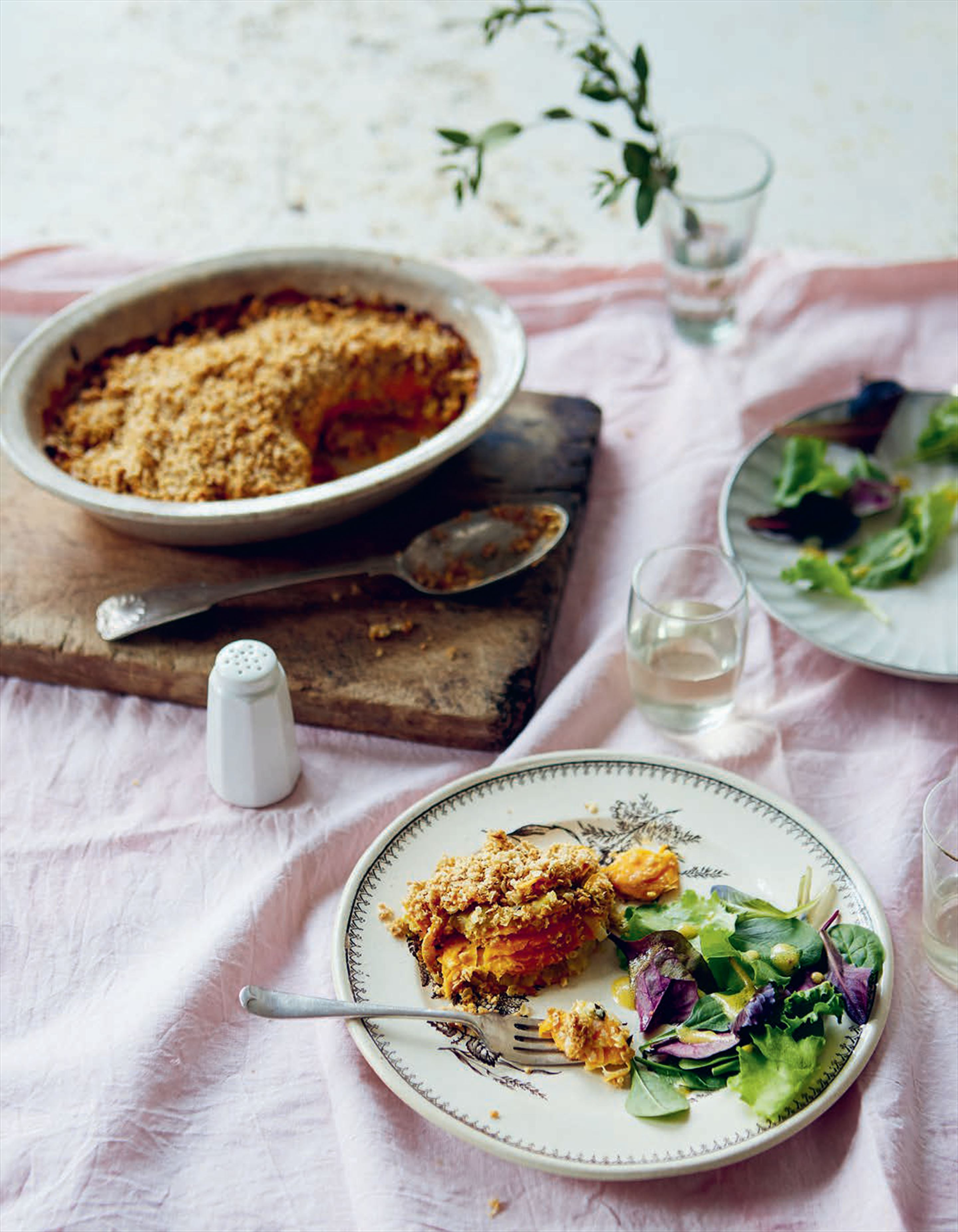 Sweet potato & leek gratin with oat crumble topping