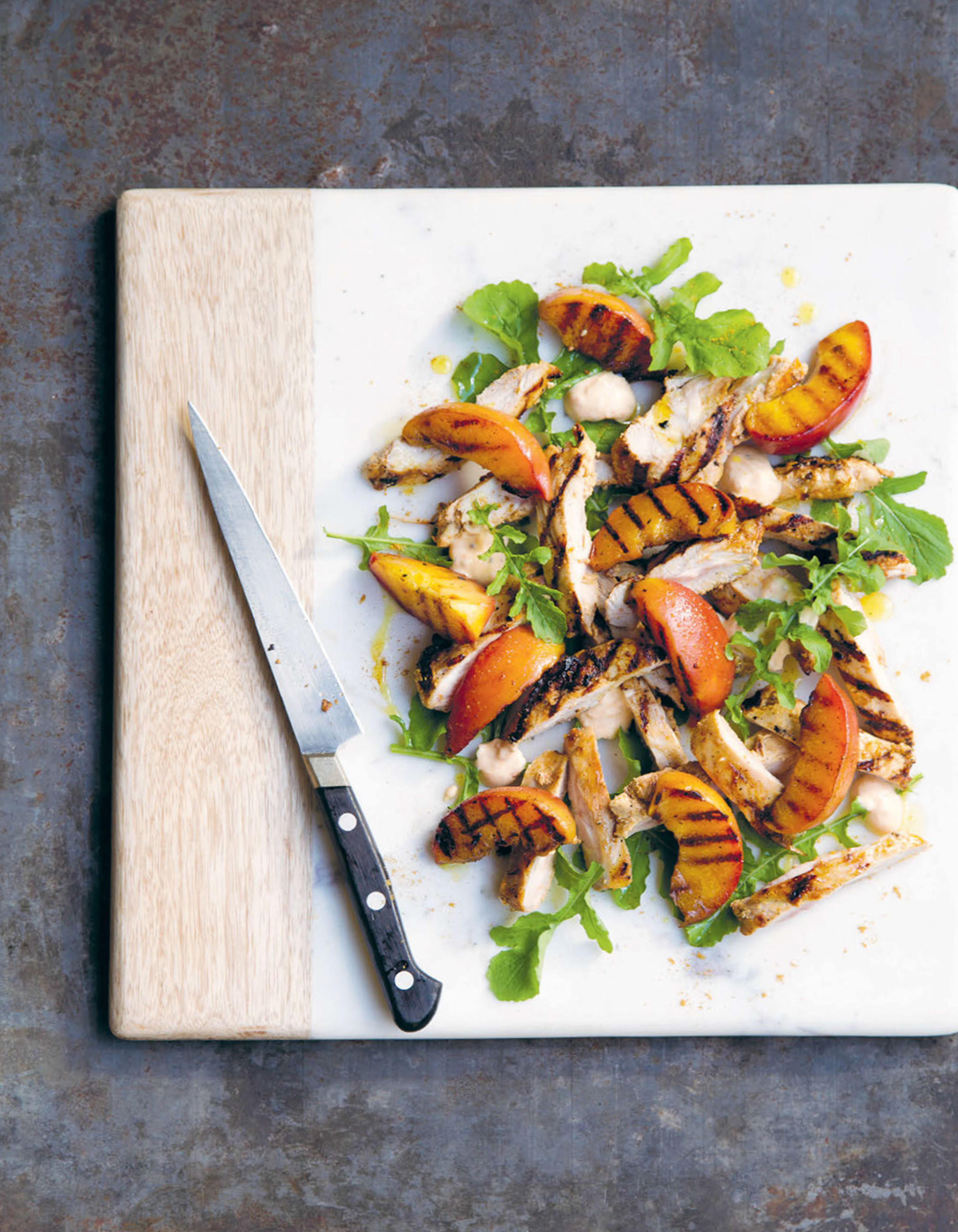 Grilled peaches and chicken with rocket and kasundi
