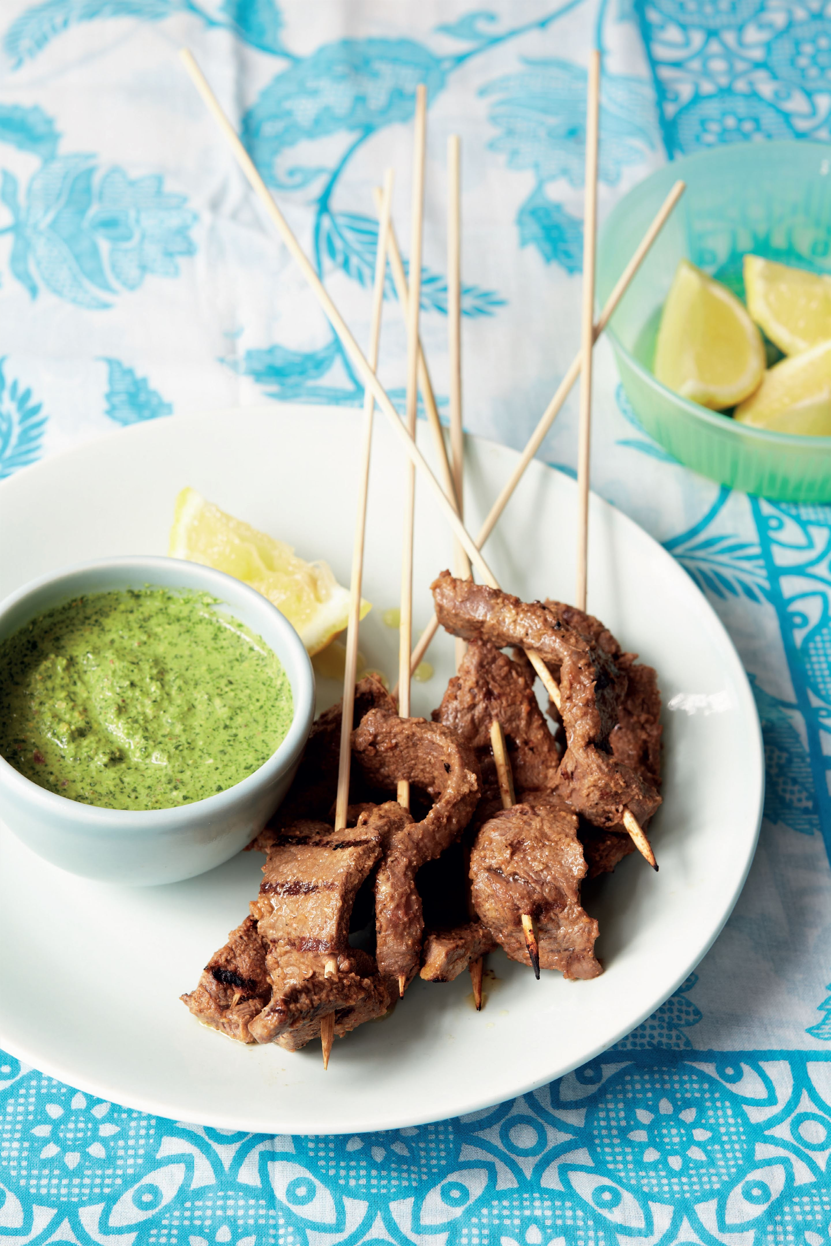 Griddled Bihari beef skewers