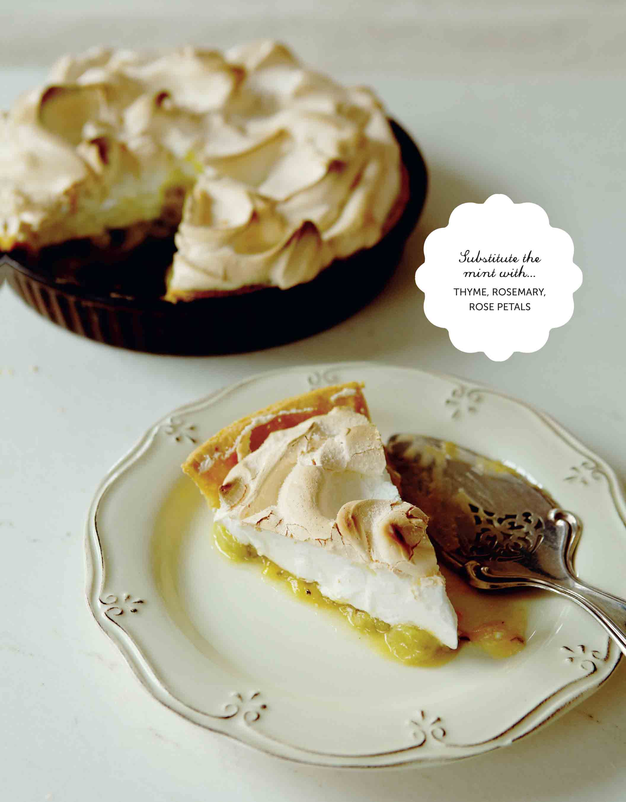 Gooseberry and mint meringue pie