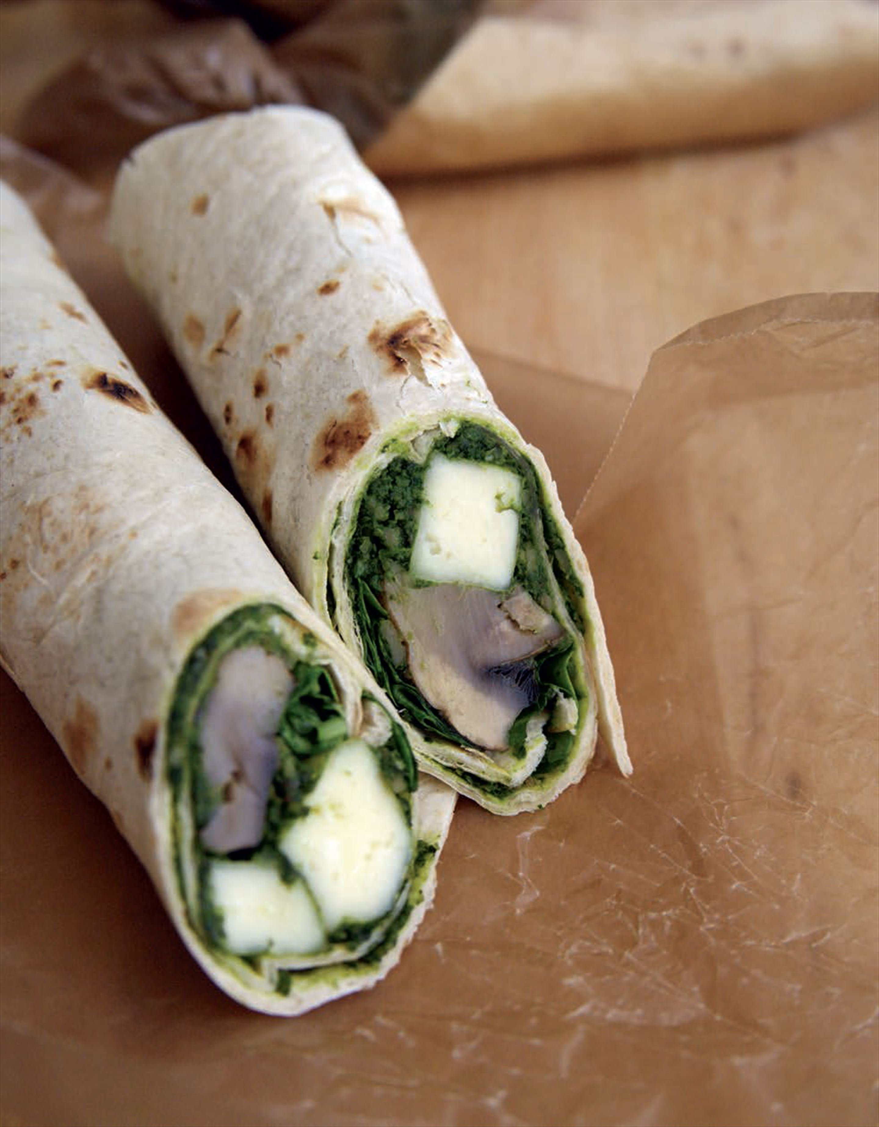Paneer, mushroom and spinach wraps