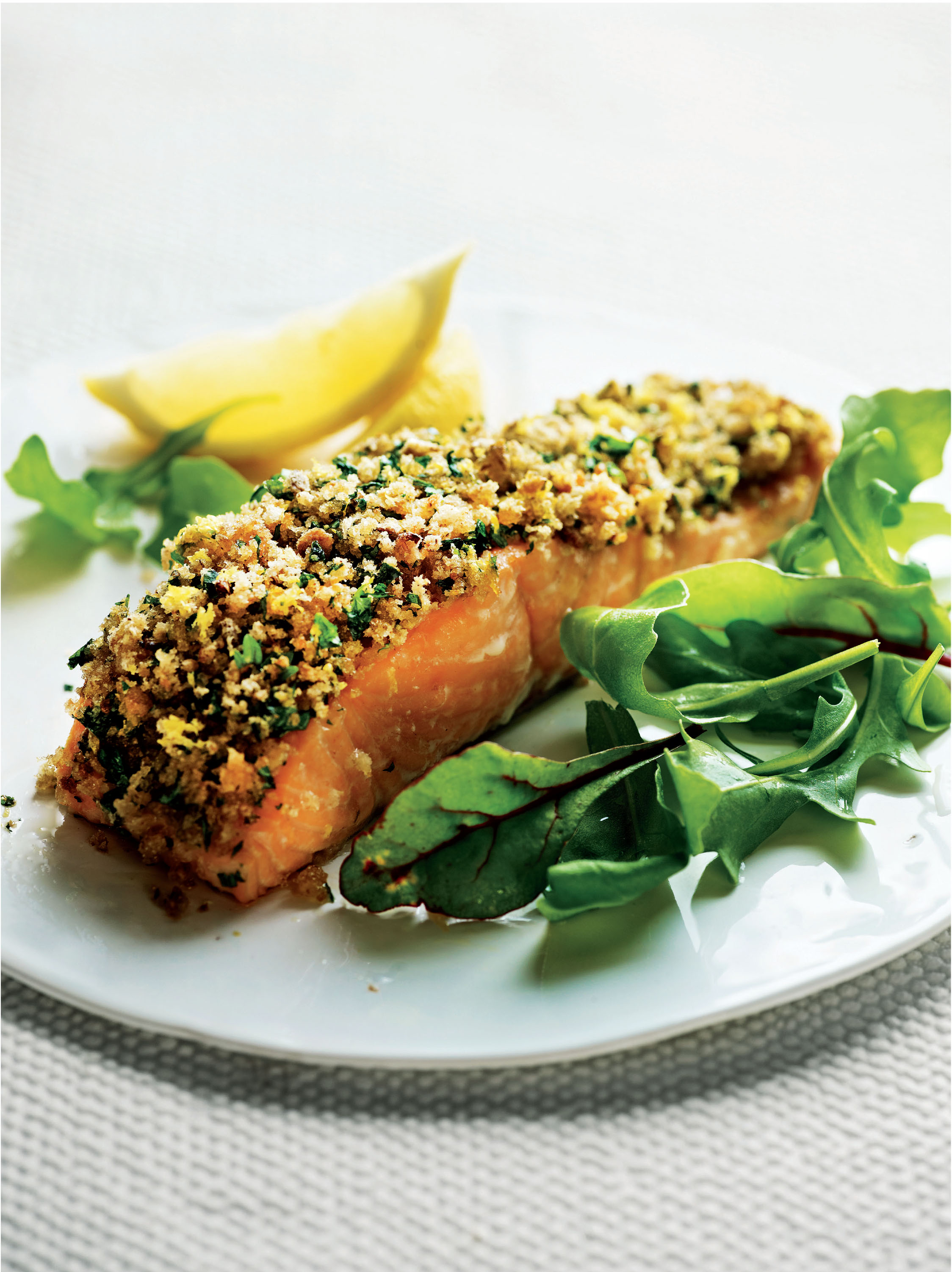 Baked salmon with herbed omega crust