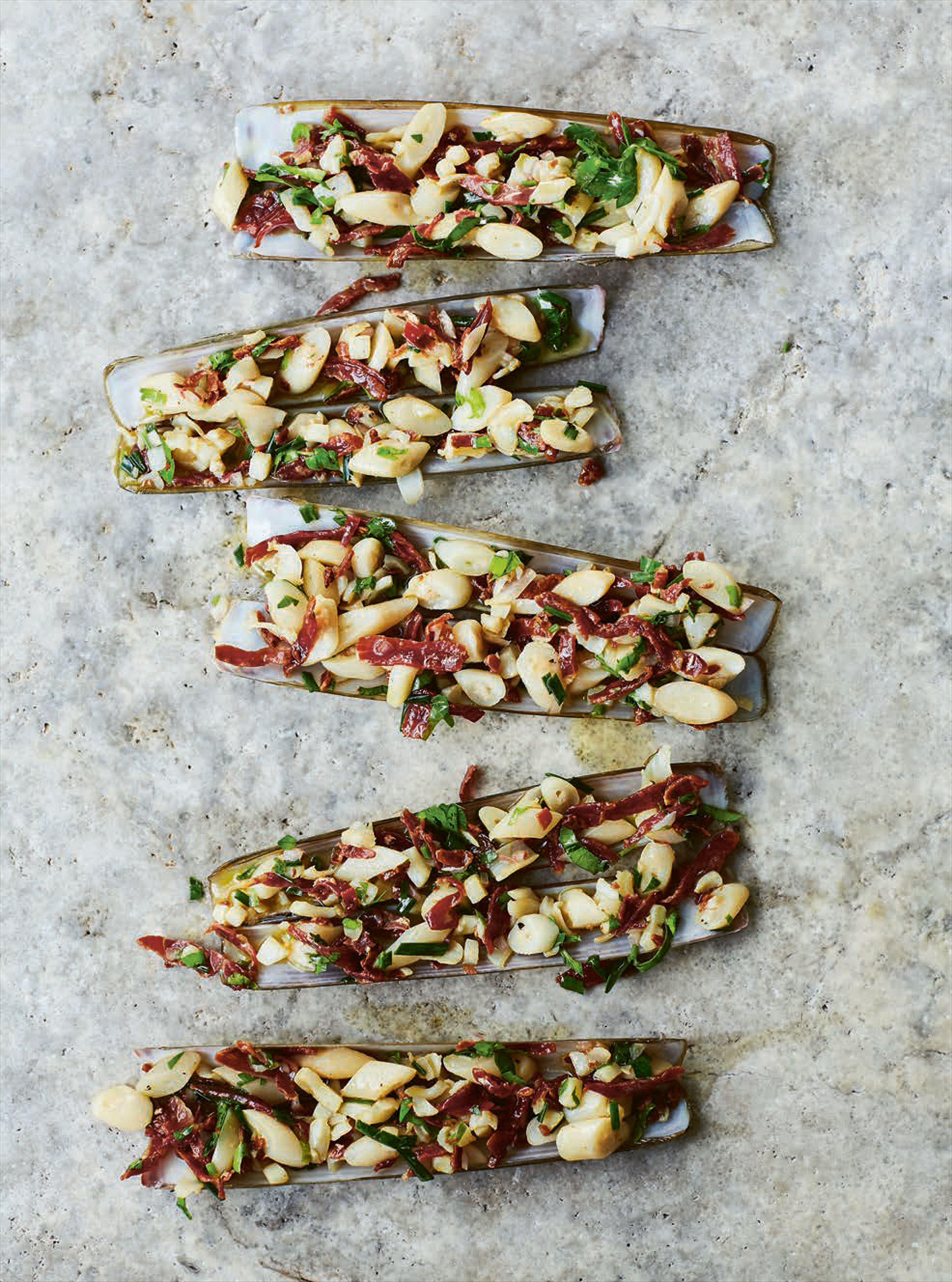 Razor clams with jamón & cava vinaigrette
