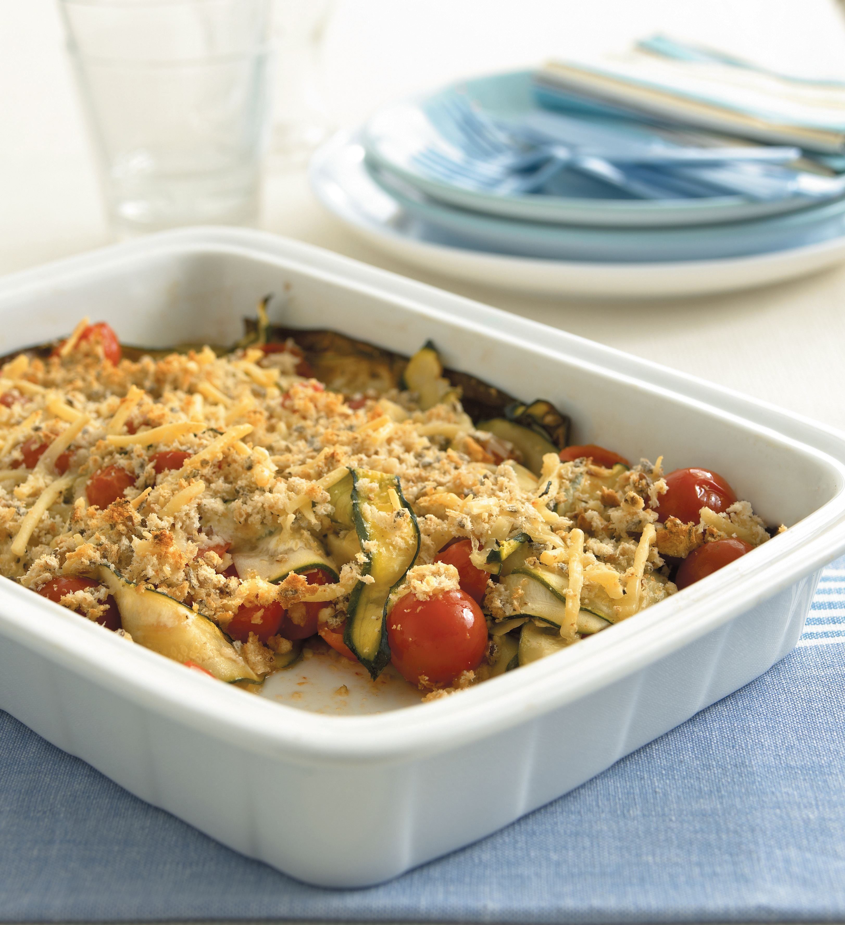 Cherry tomato and zucchini bake