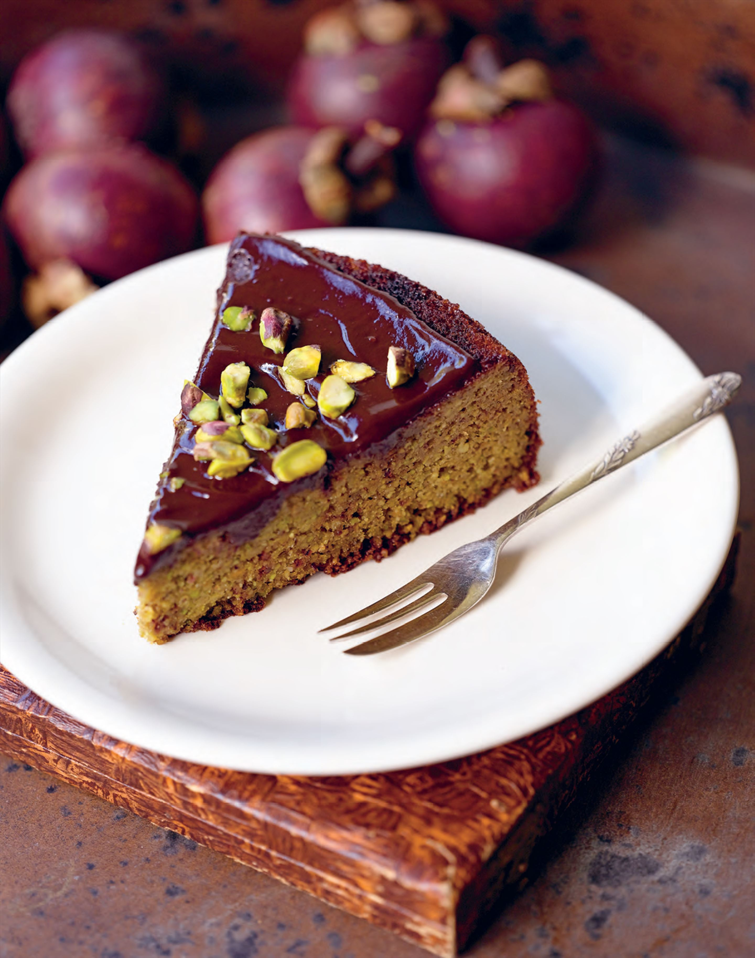 Middle Eastern pistachio and orange cake with pistachio ganache
