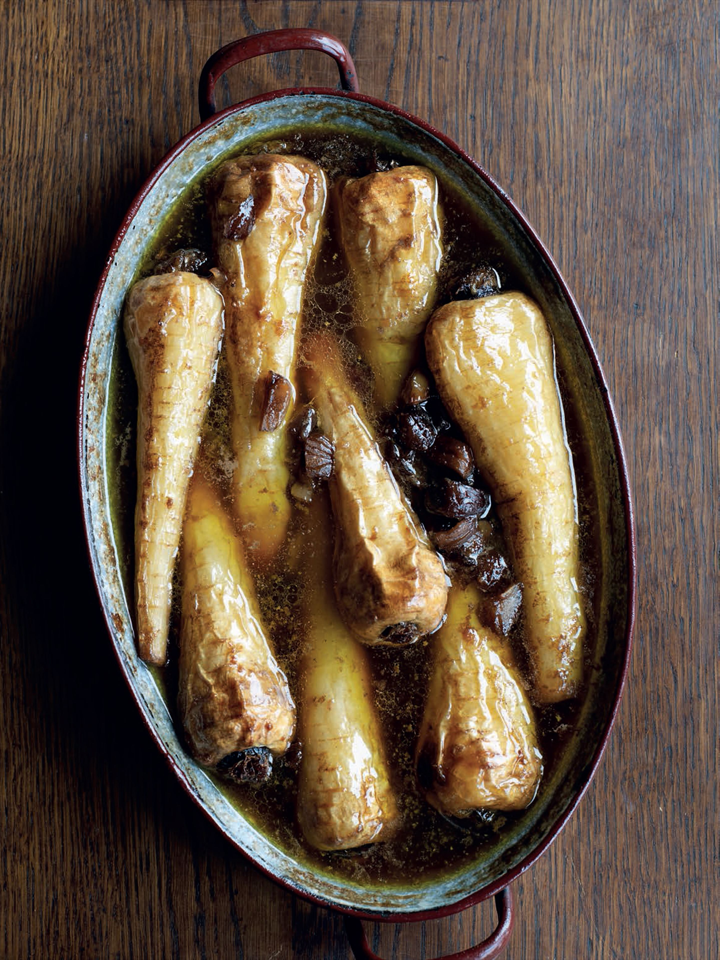 Slow-roast parsnips with sherry and chestnuts