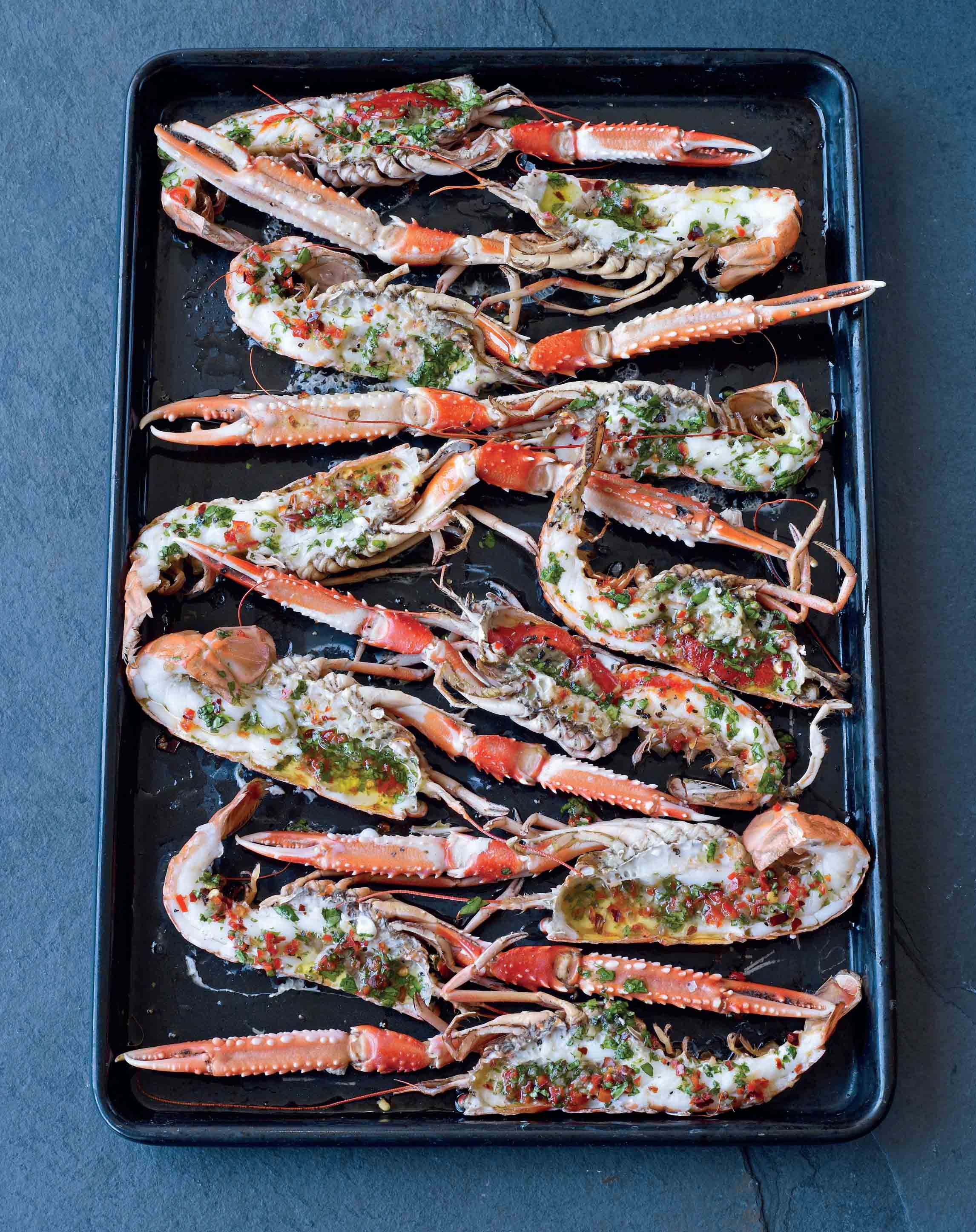 Grilled langoustines with chilli, garlic and coriander