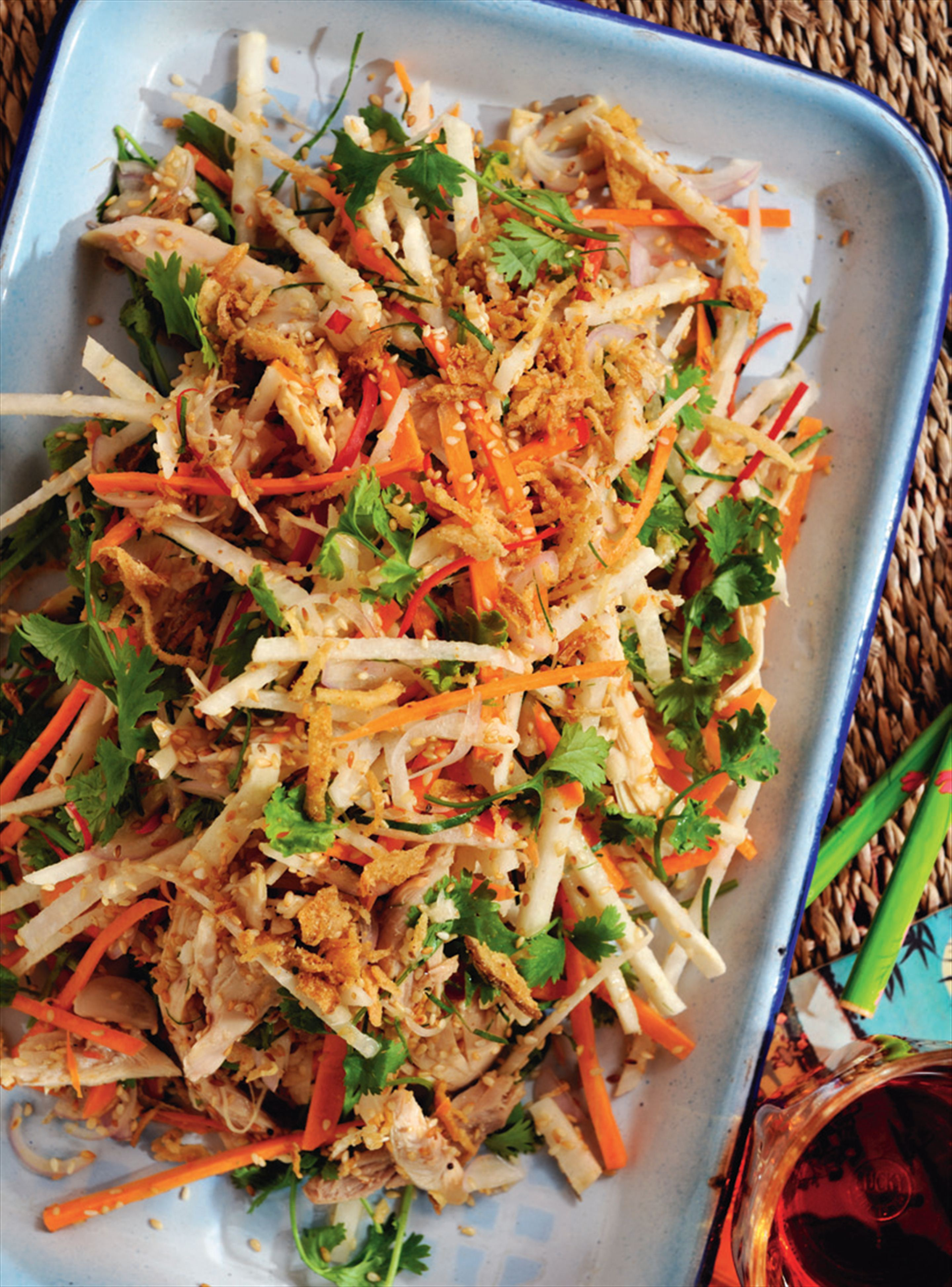 Chicken, sesame and jicama salad