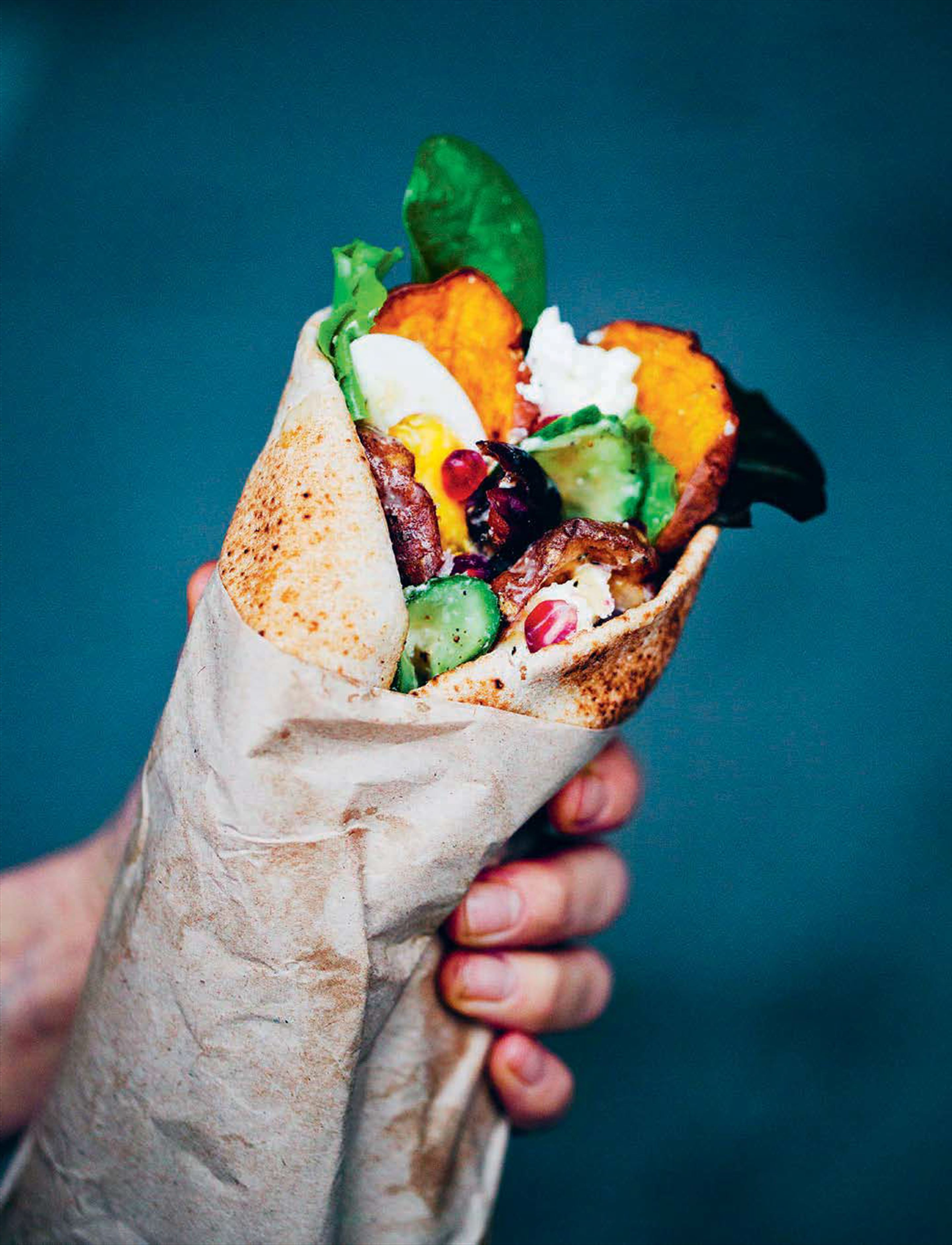 Middle eastern sweet potato wraps