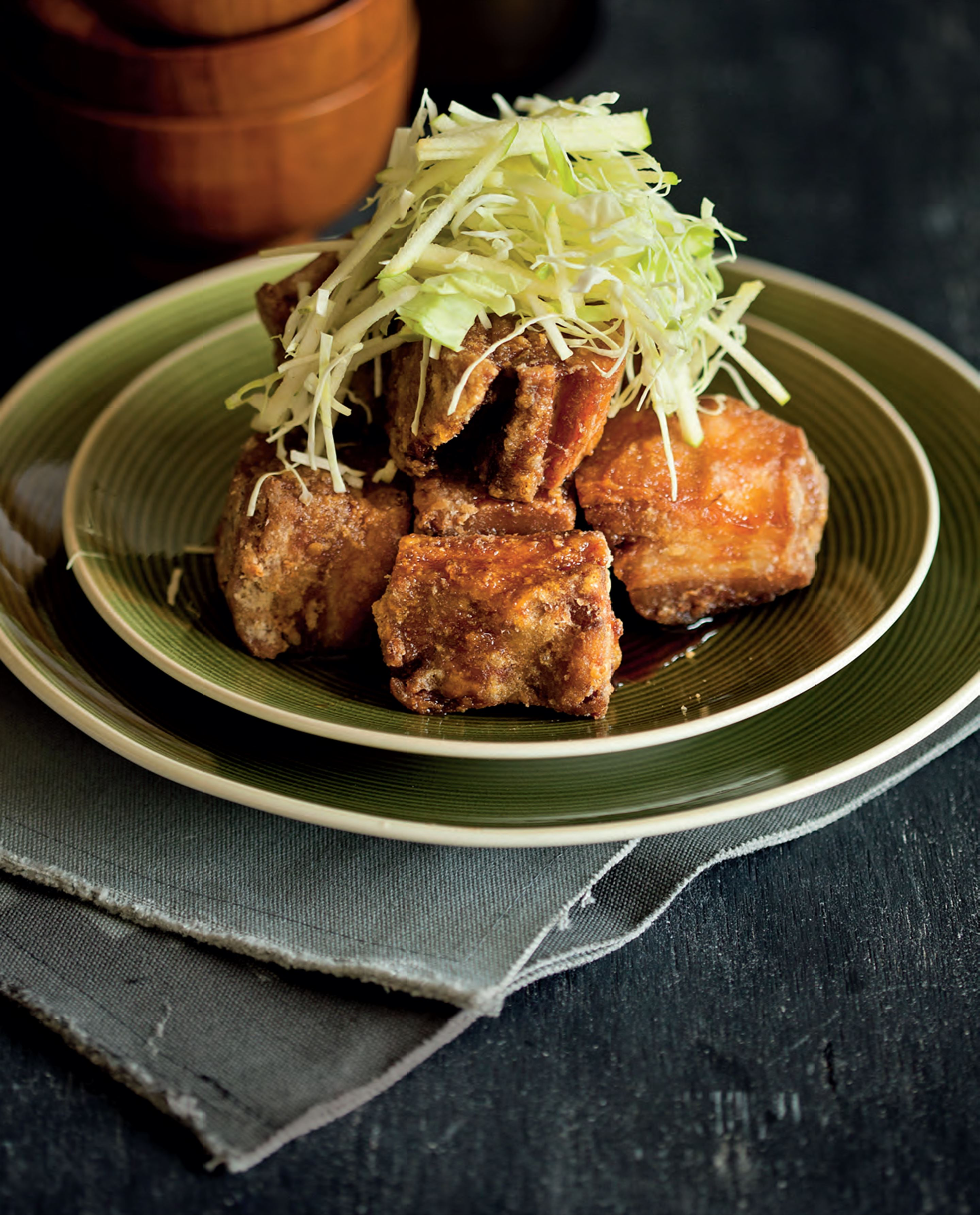 Twice-cooked pork belly with apple and cabbage slaw