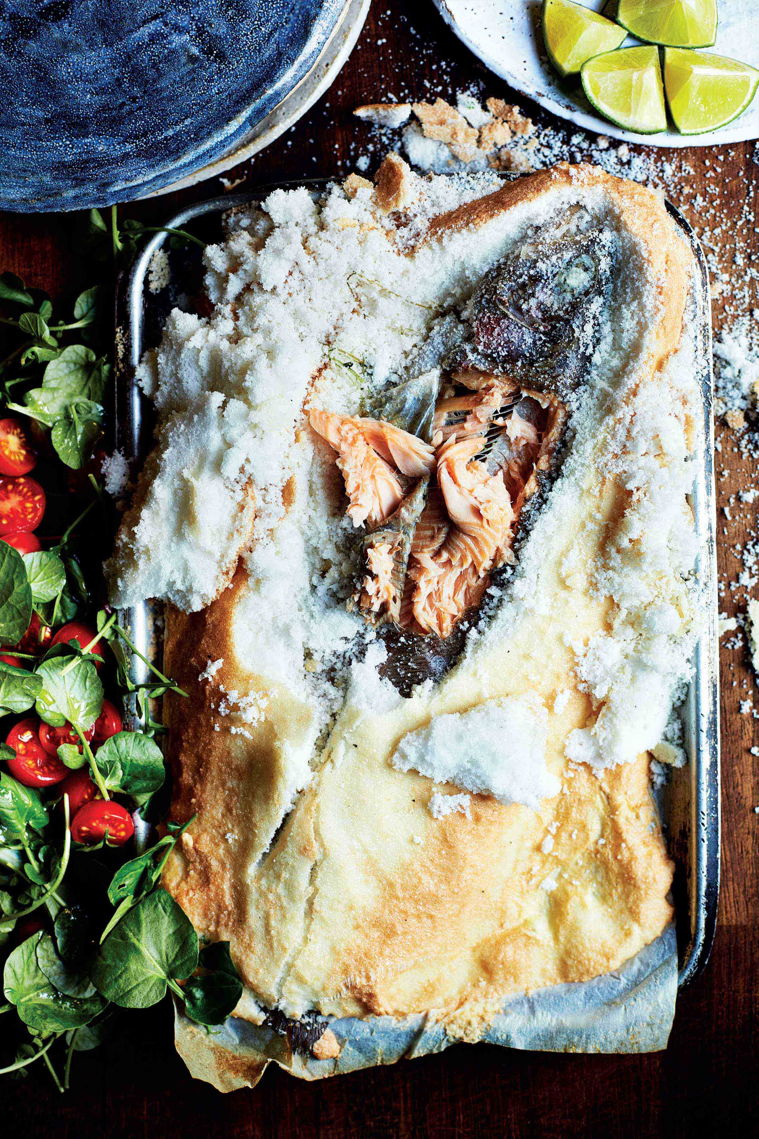 Salt-baked trout with lime & watercress