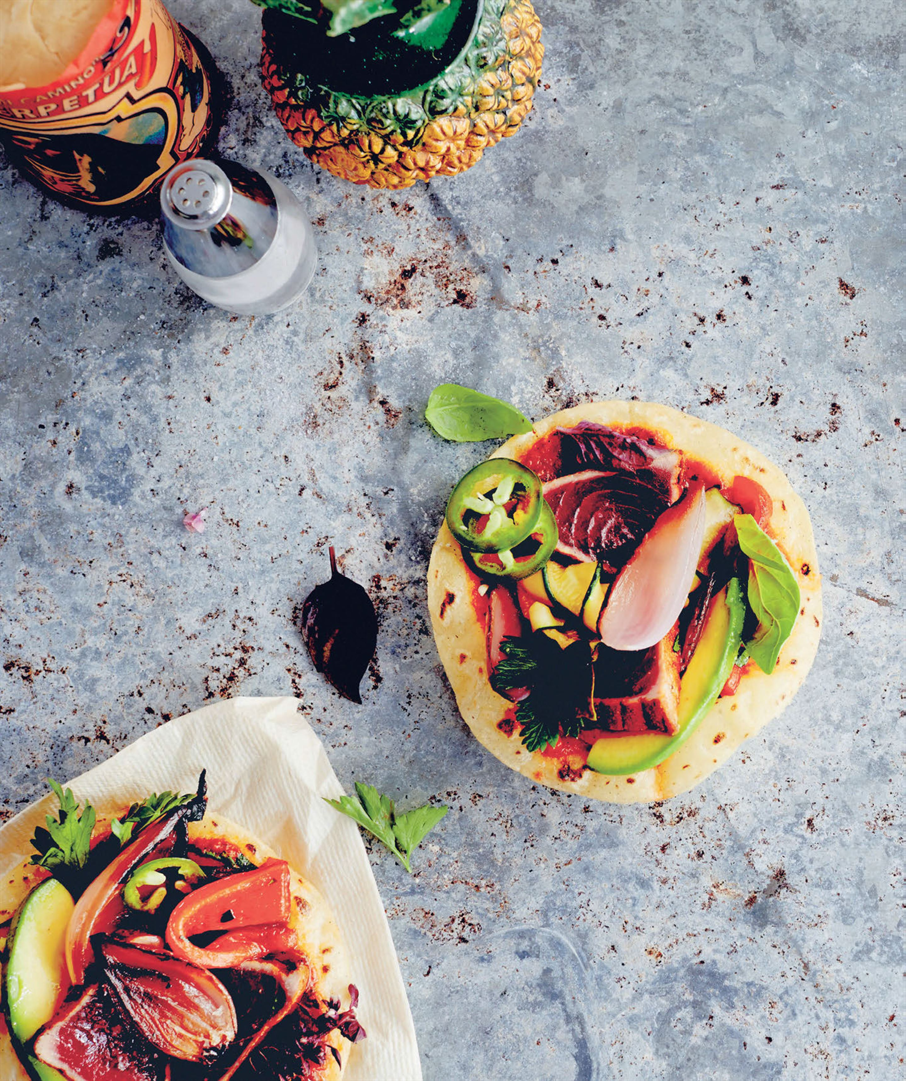Street-style tostadas with seared tuna & wood-grilled vegetables