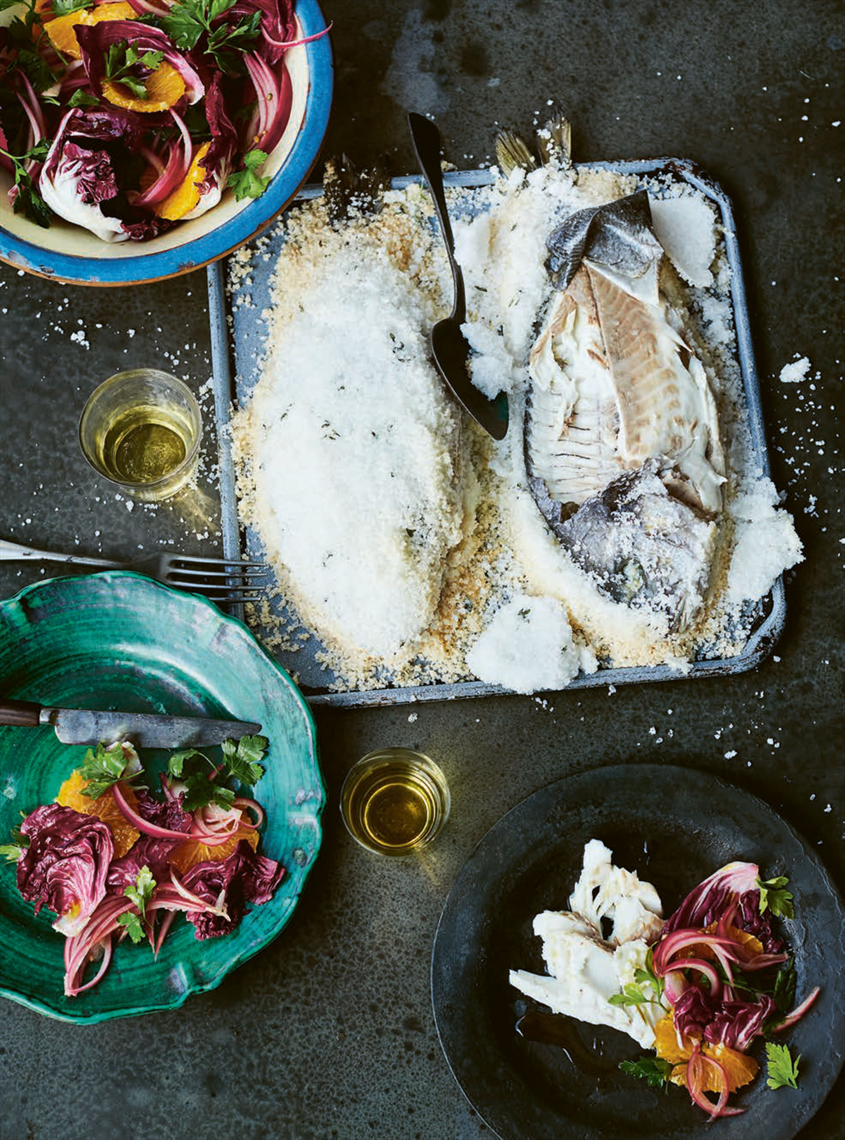 Salt-baked sea bream with orange & pickled red onion salad