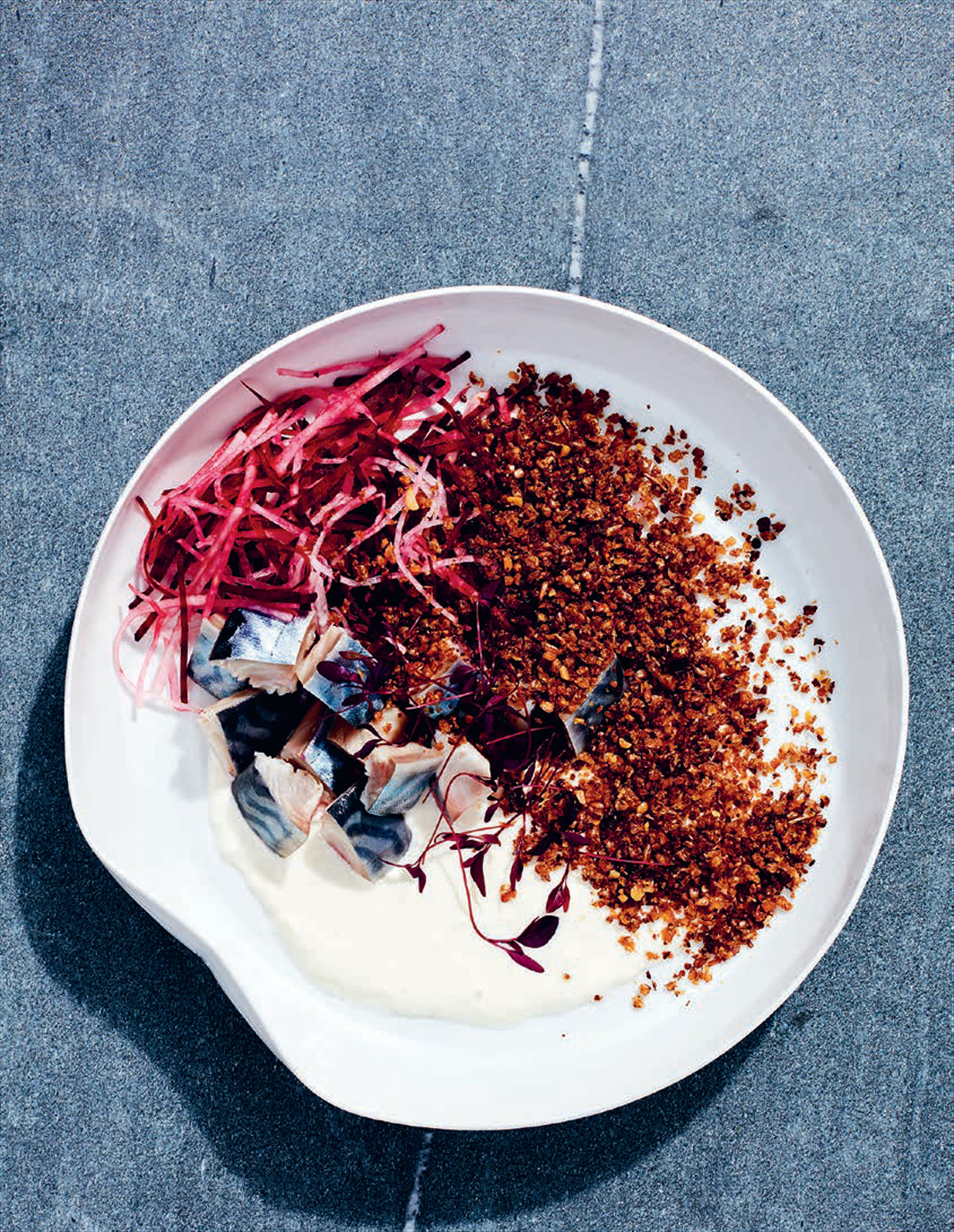 Pickled mackerel, mooli + beetroot salad with rye crumbs
