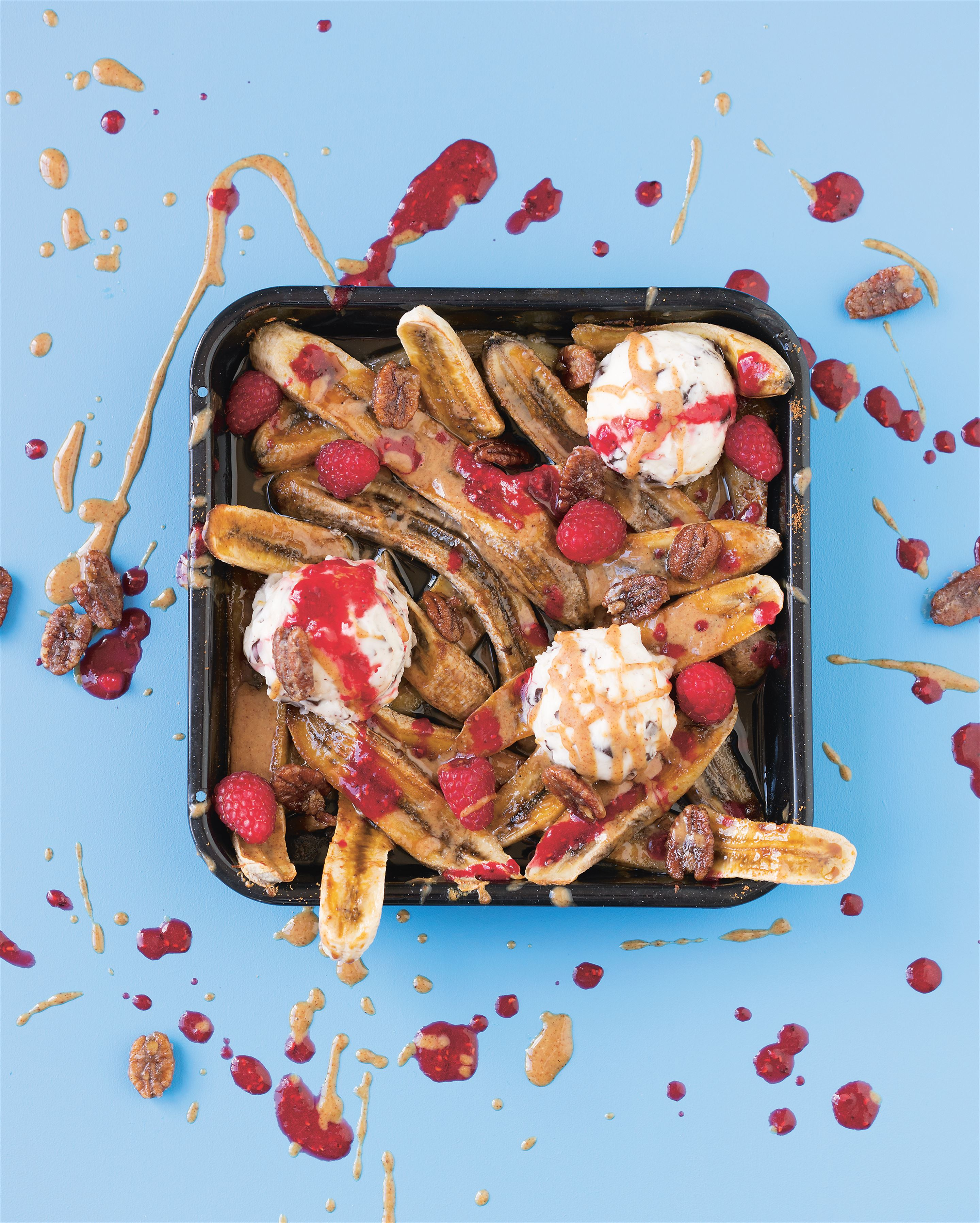 Banana split bake with candied pecans