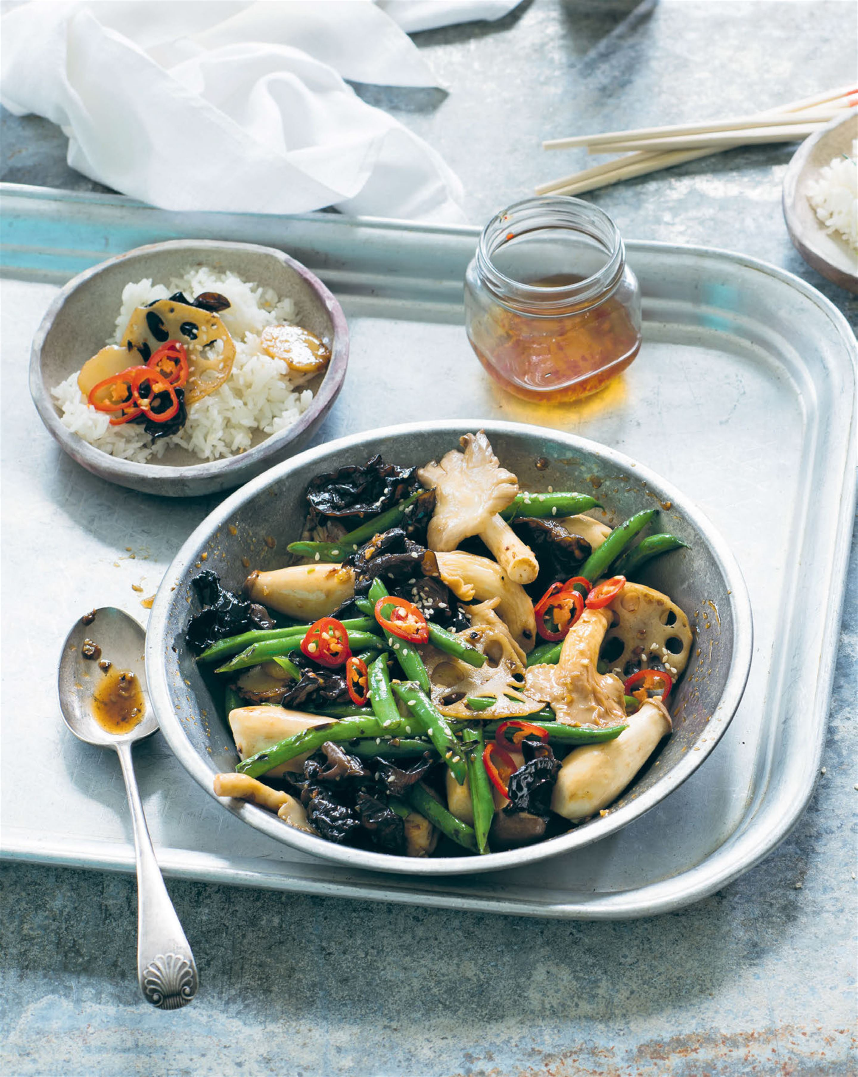 French beans wok-tossed with Asian mushrooms, lotus root & water chestnuts